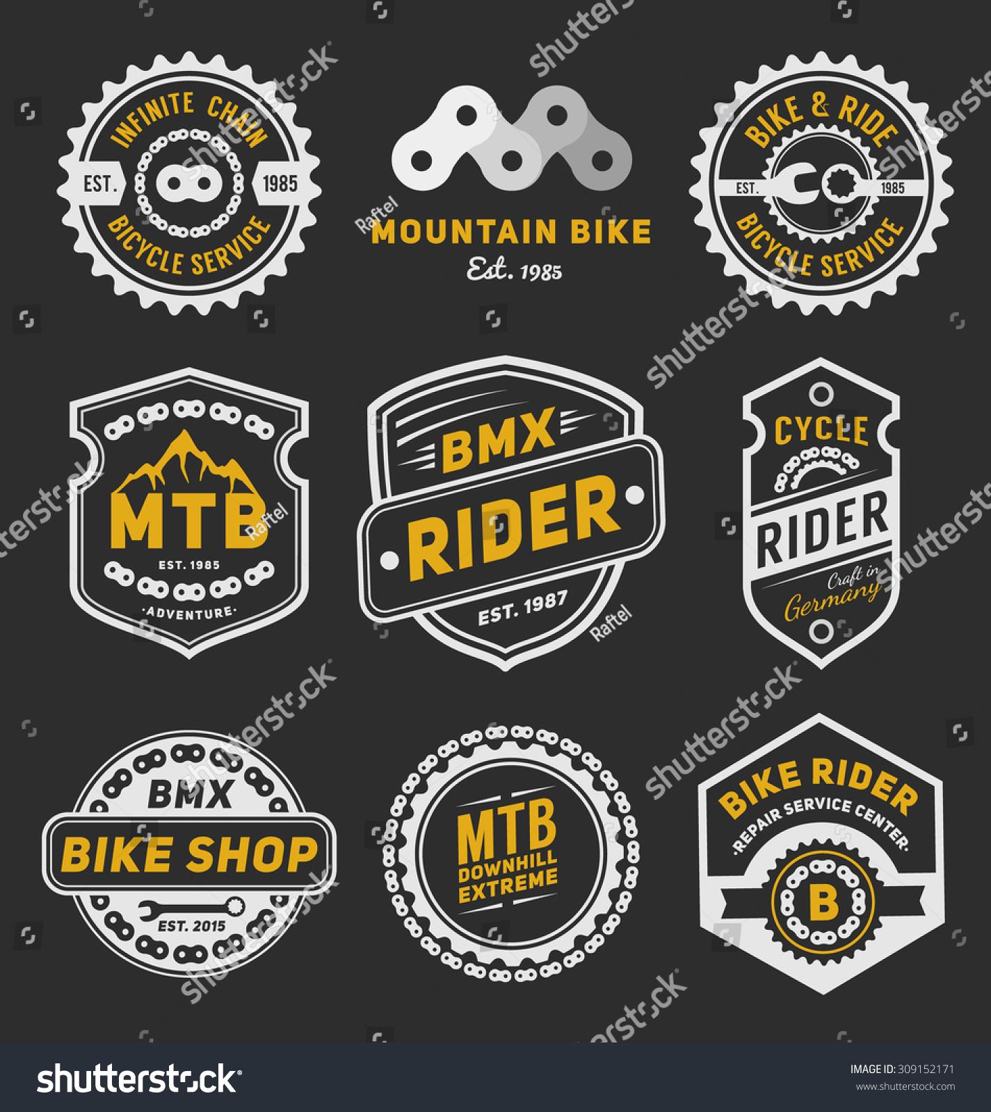 Bike sticker design images - Set Of Bicycle Badge Logo Template Design For Logo Label T Shirt