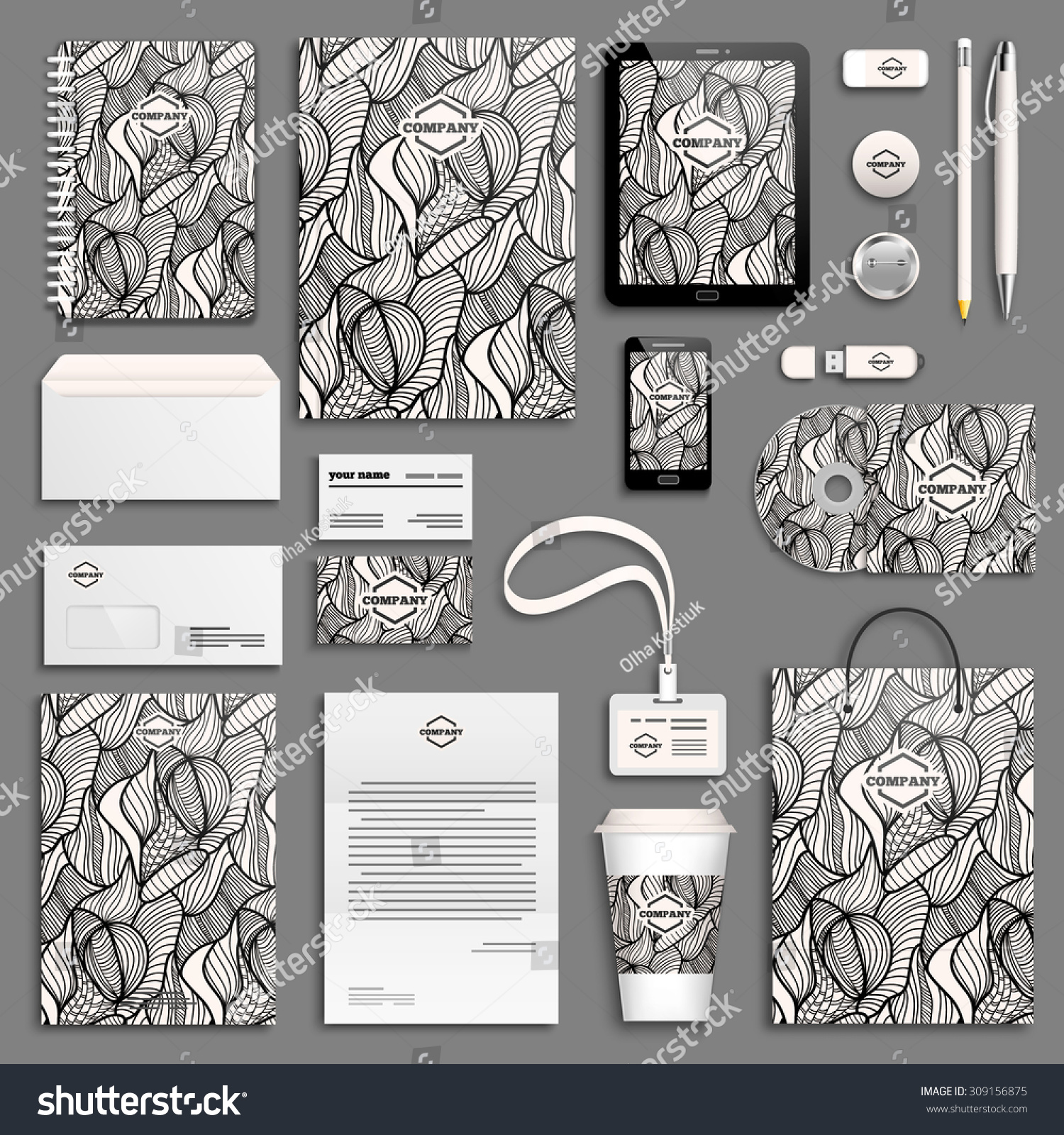 Blank Stationery And Corporate Identity Template Consist: Zentangle Black White Corporate Identity Template Stock