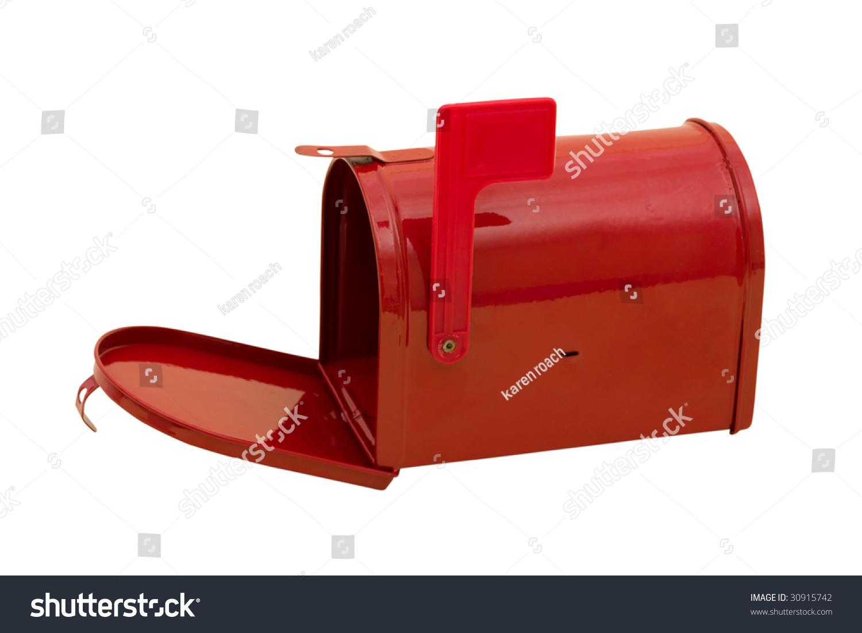 Red Mailbox Flag Sitting On White Stock Photo 30915742 Shutterstock