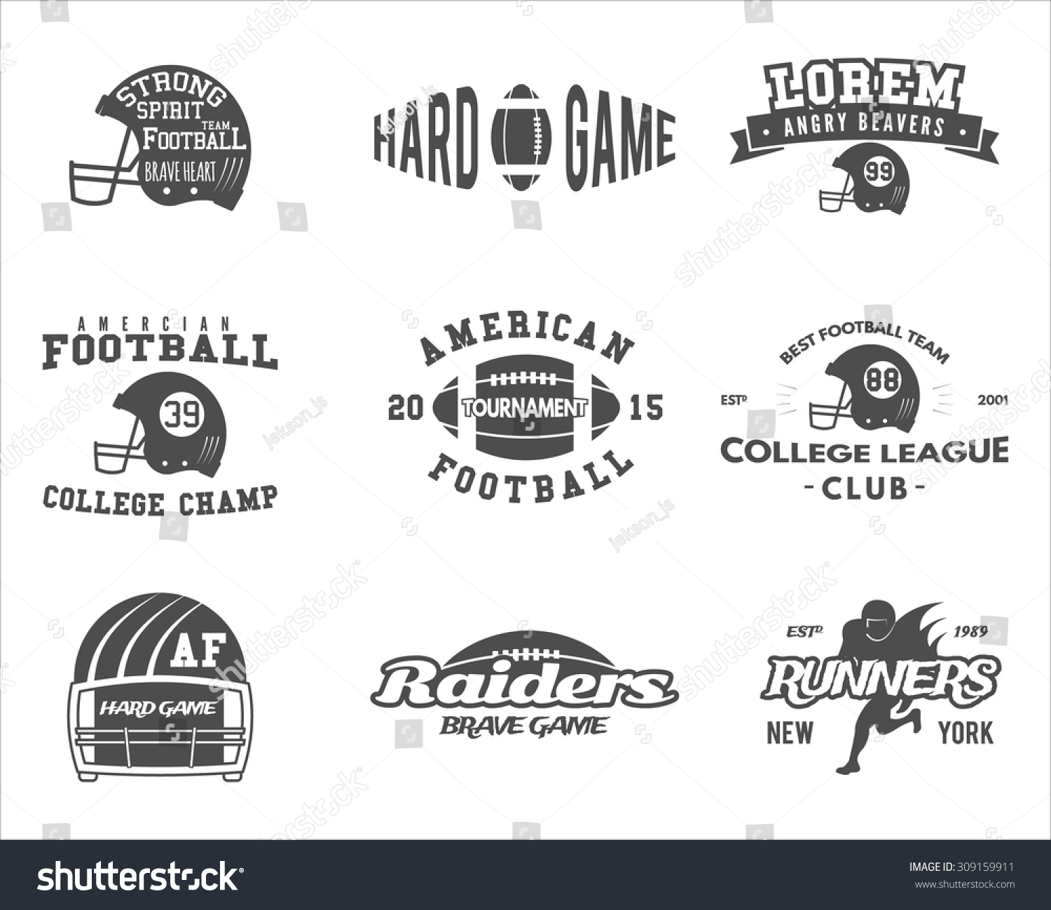 College Rugby And American Football Team Camp Badges