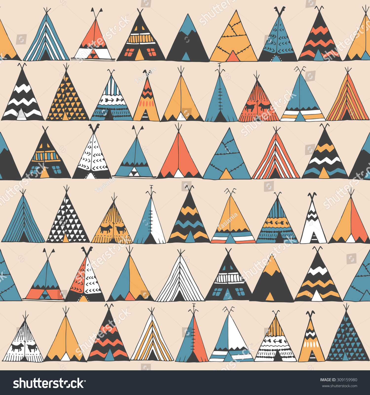 teepee pattern wigwam native american summer stock vector 309159980 shutterstock. Black Bedroom Furniture Sets. Home Design Ideas