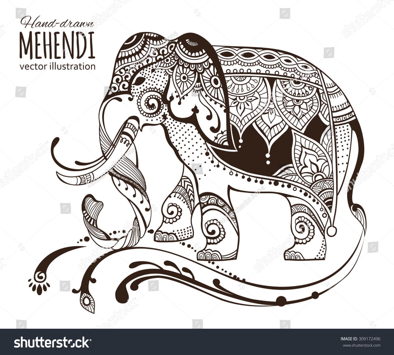 Mehendi Elephant Ethnic African Indian Totem Tatoo Design Vector Illustration