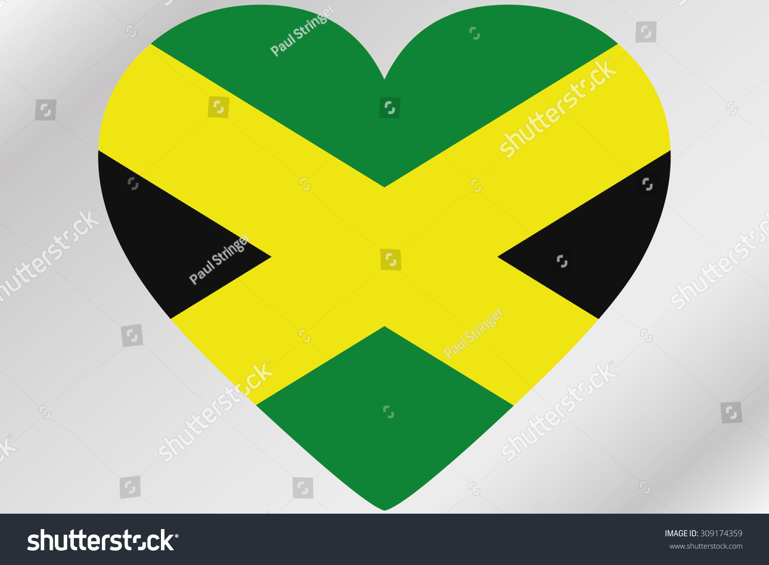 A flag illustration of a heart with the flag of jamaica