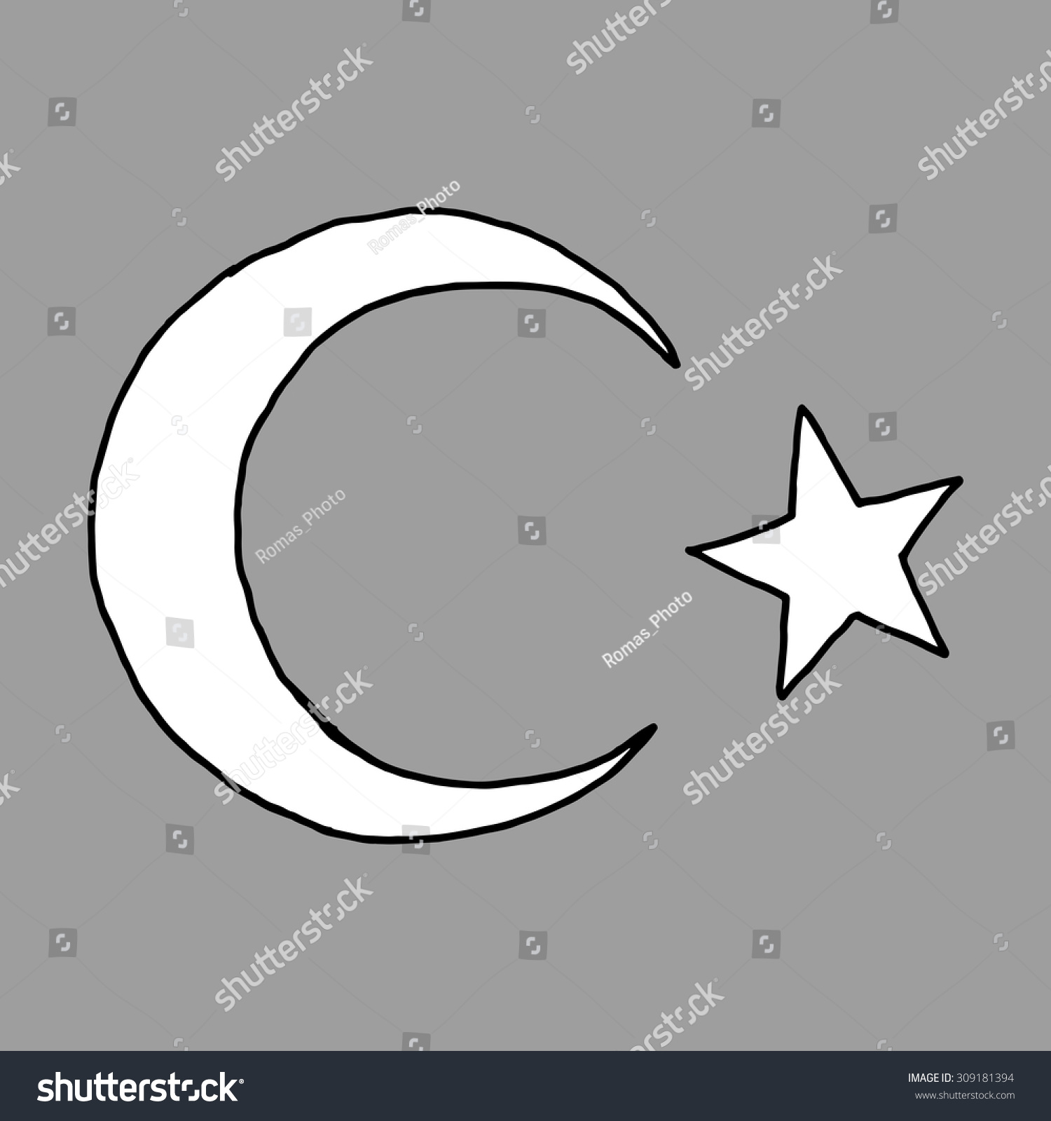 Crescent islamic symbol doodle style hand stock vector 309181394 crescent islamic symbol doodle style hand drawn image of moon with star biocorpaavc Choice Image
