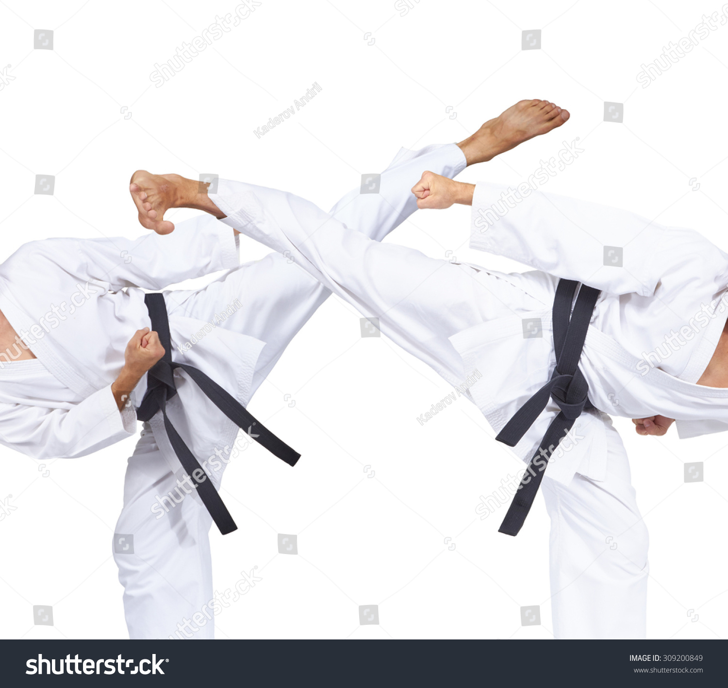 Two kicks to the performance of an athlete with a black belt collage #309200849