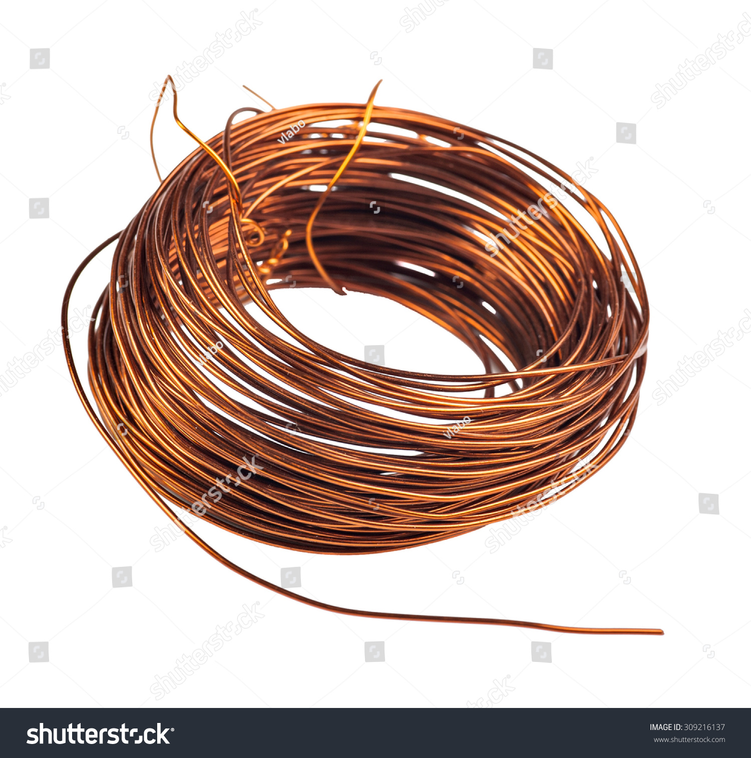 Coil Copper Wire Isolated On White Stock Photo (Edit Now) 309216137 ...