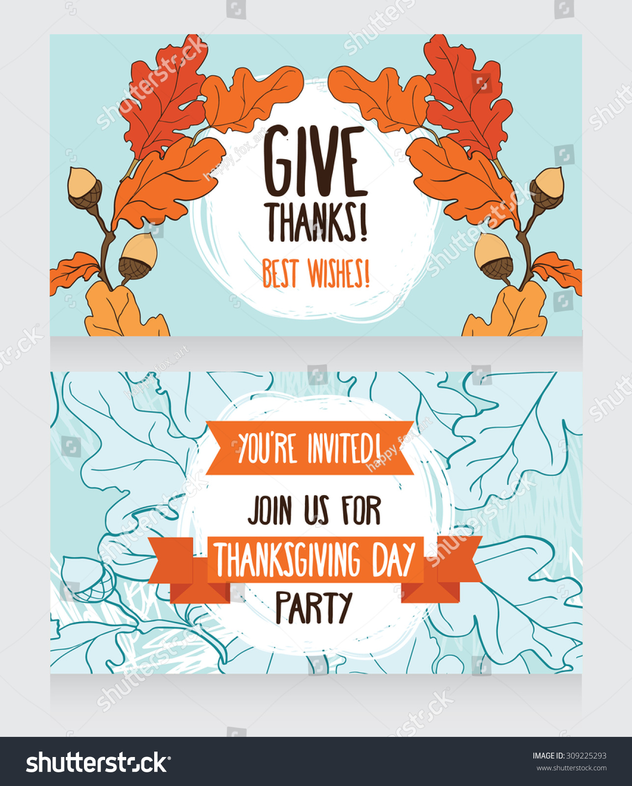 Greeting cards thanksgiving day cute party stock vector 309225293 greeting cards for thanksgiving day cute party invitations vector illustration kristyandbryce Images