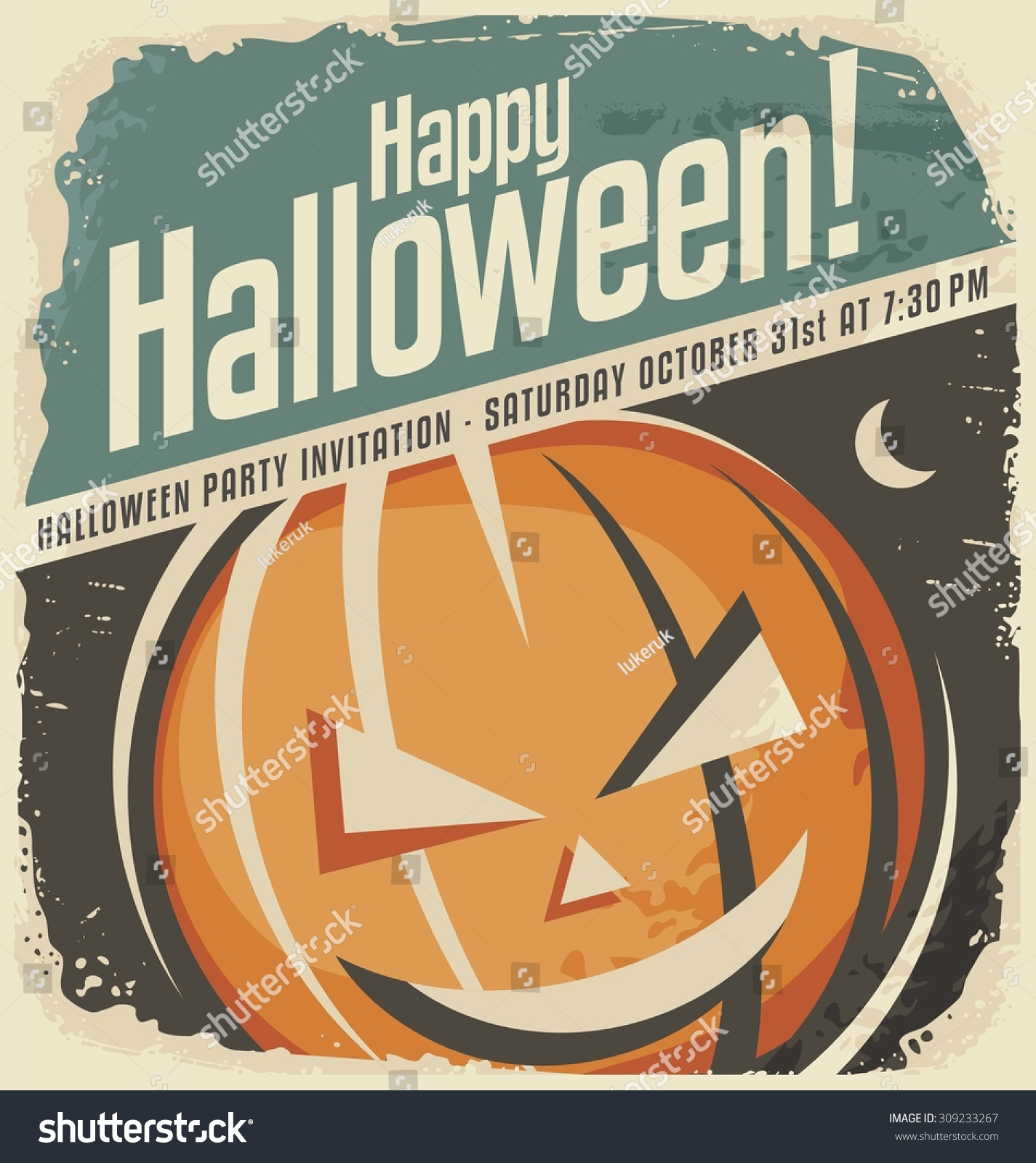 Retro Poster Template Halloween Pumpkin Head Stock Vector ...