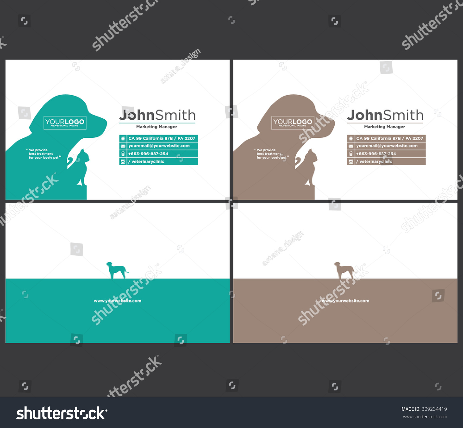Animal Theme Dog Cat Business Card Stock Vector 309234419 - Shutterstock