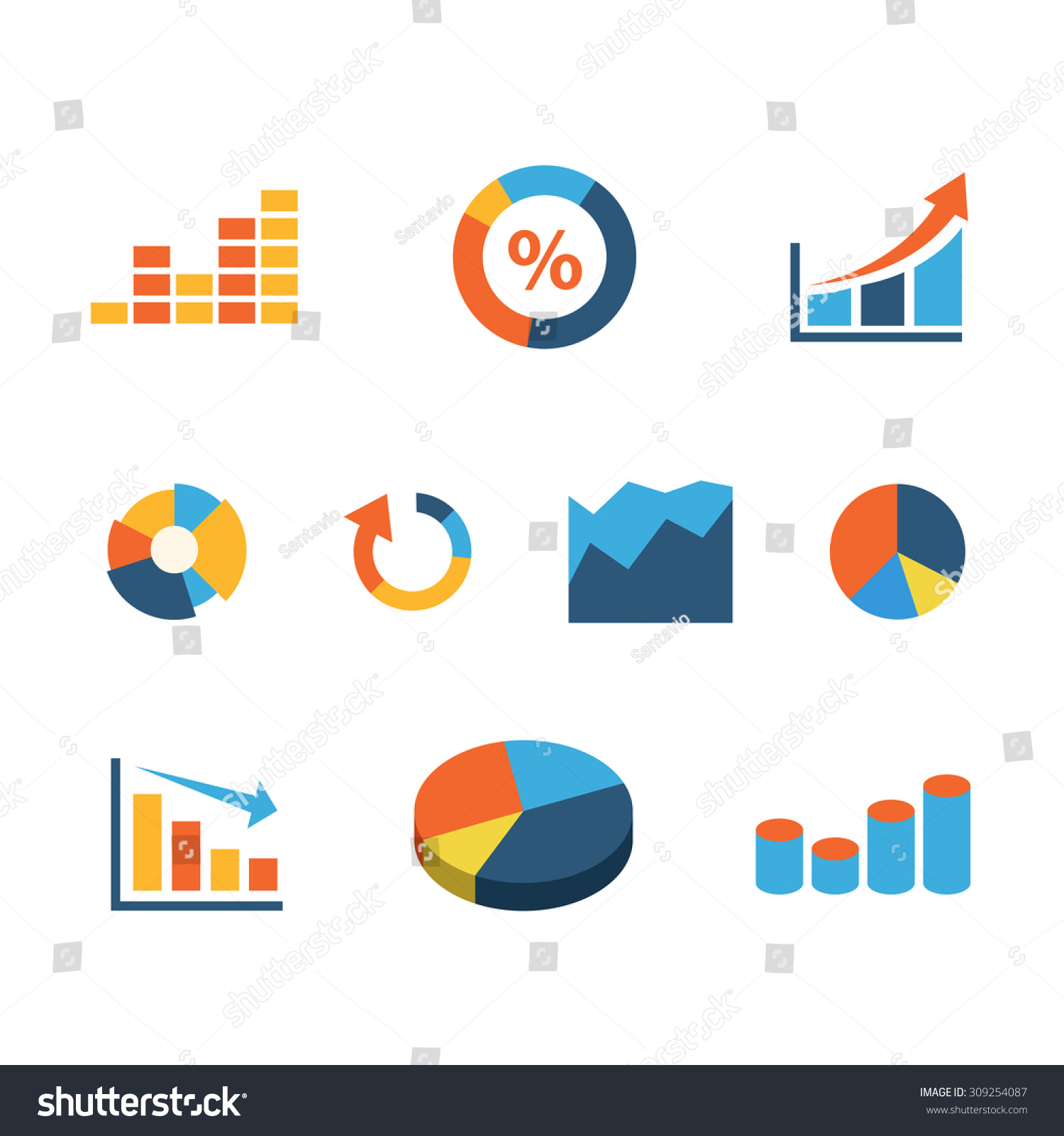 Finance Graphics: Flat Website Interface Graphic Finance Data Stock Vector