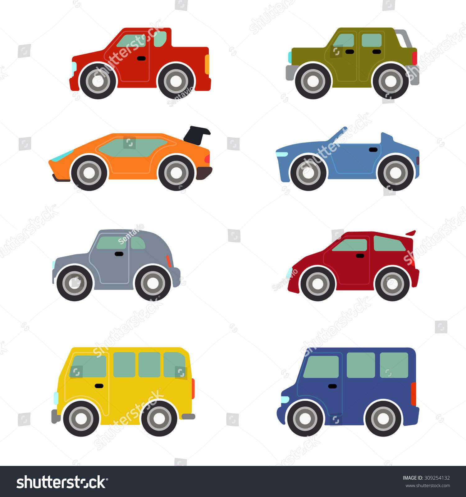 Flat Funny Cartoon Road Transport Icon Stock Vector