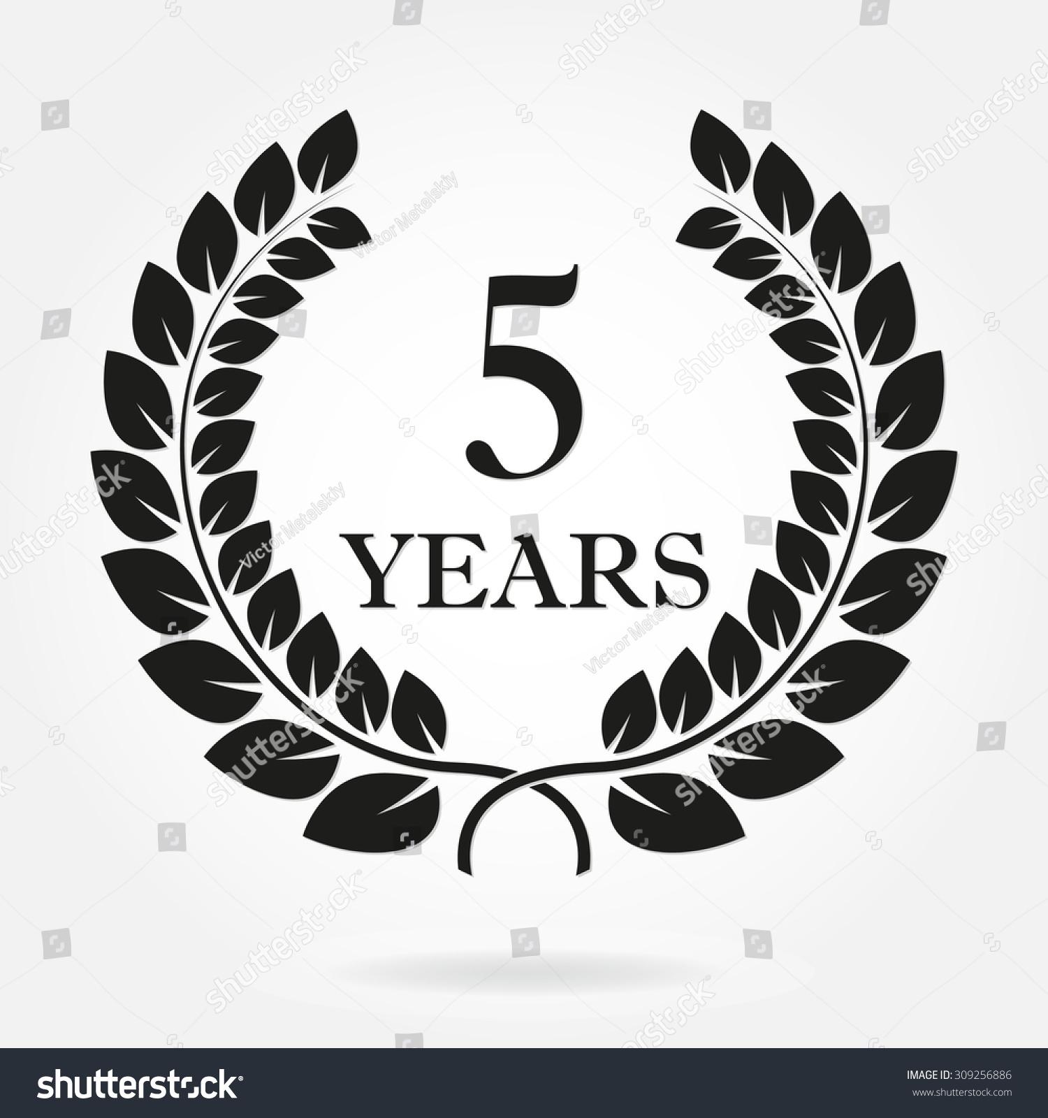 5 Years Anniversary Laurel Wreath Sign Stock Vector ...