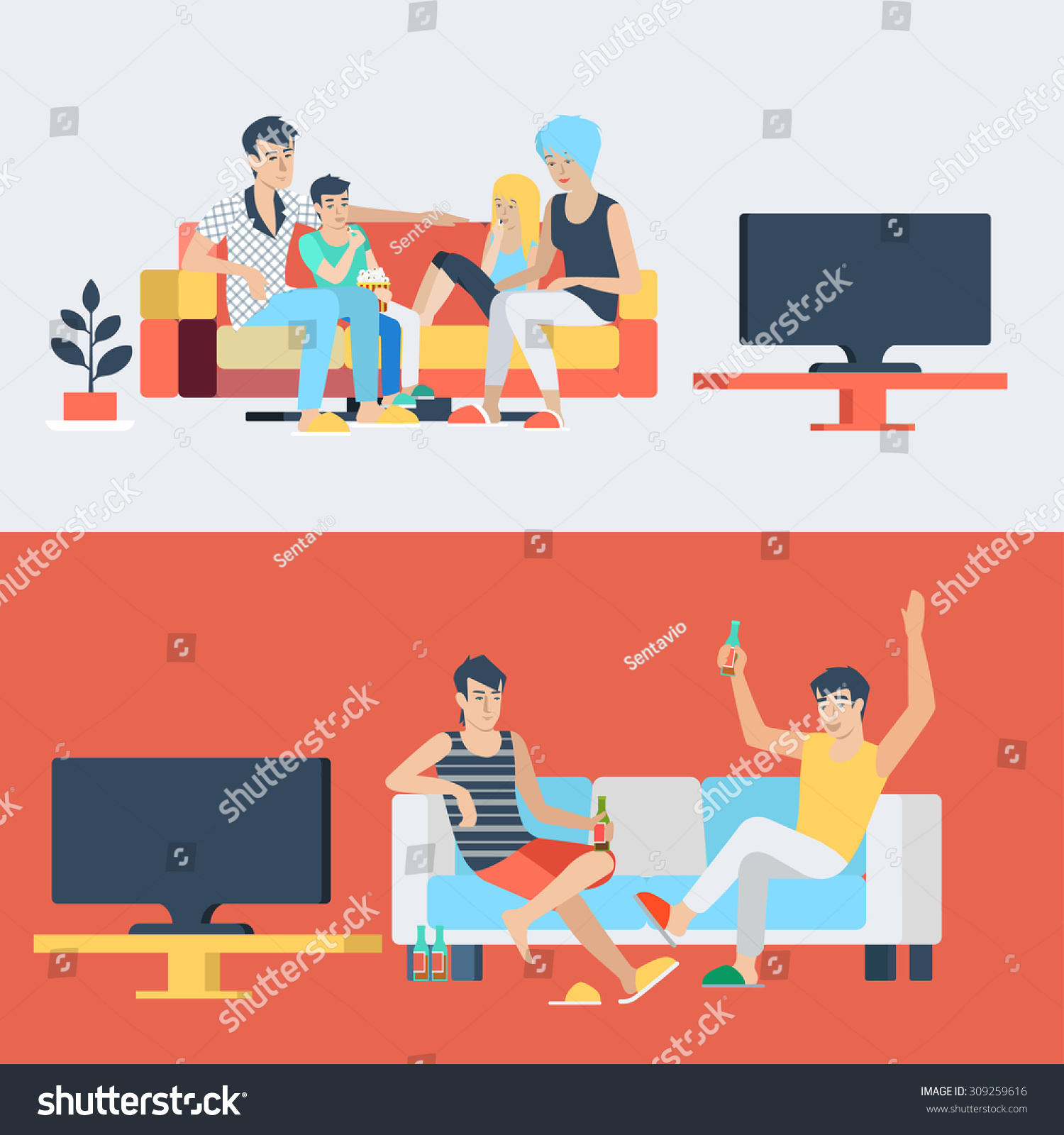 set family couple kids children in living room parenting watch tv