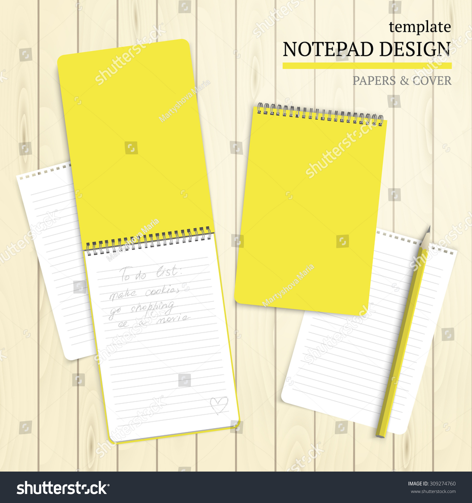 Template Notepad Design Cover Papers Stock Vector Royalty Free