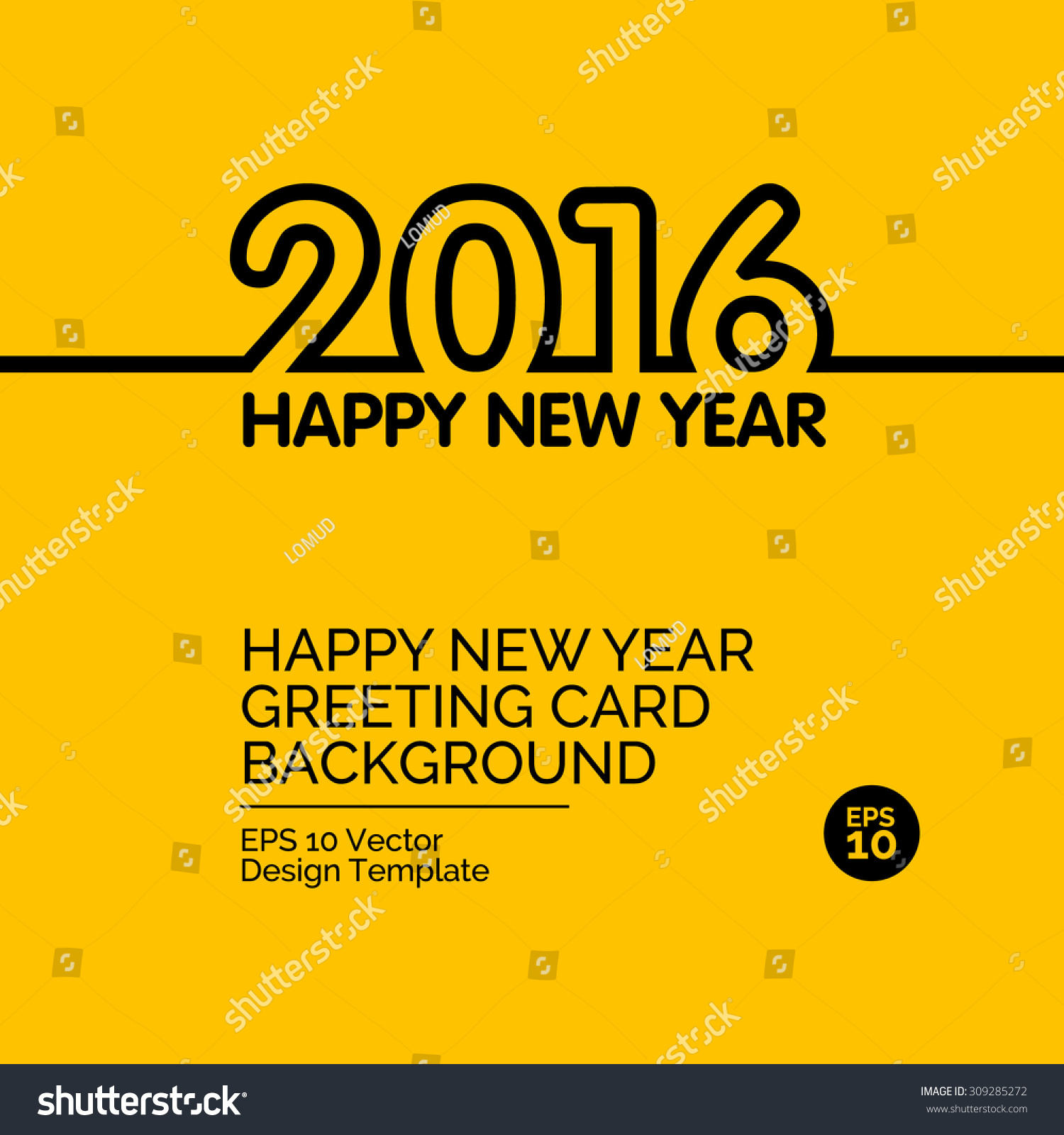 Happy New Year 2016 Greeting card design concept on yellow background Vector collection