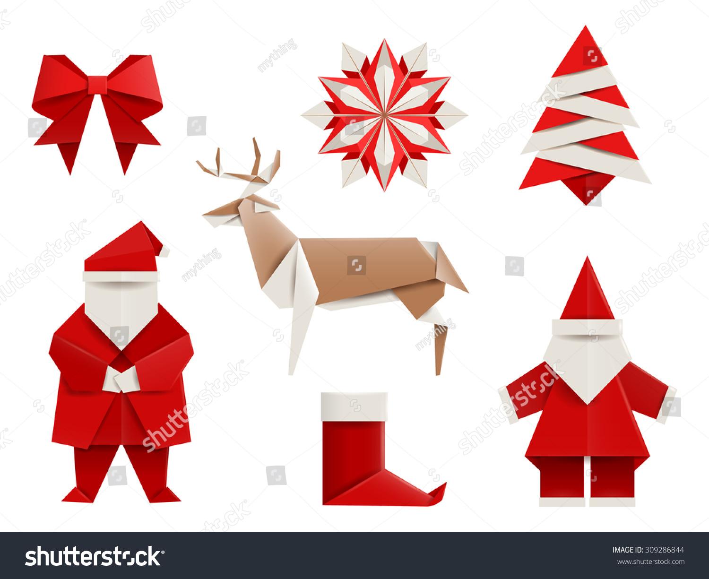 Christmas Origami.Realistic Origami Christmas Set Santa Stock Photo