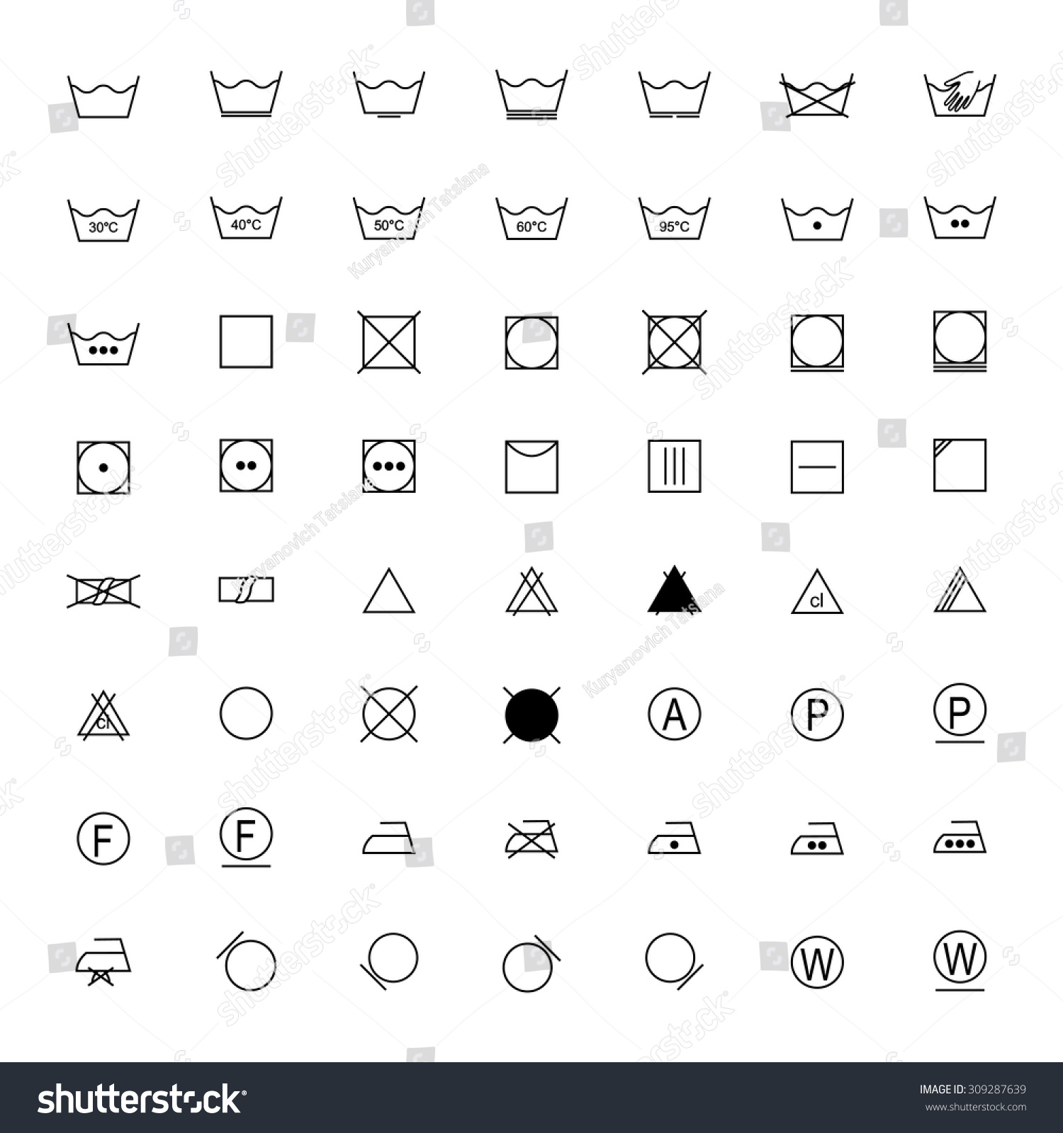 Set Black Laundry Symbols On White Stock Vector 309287639 Shutterstock