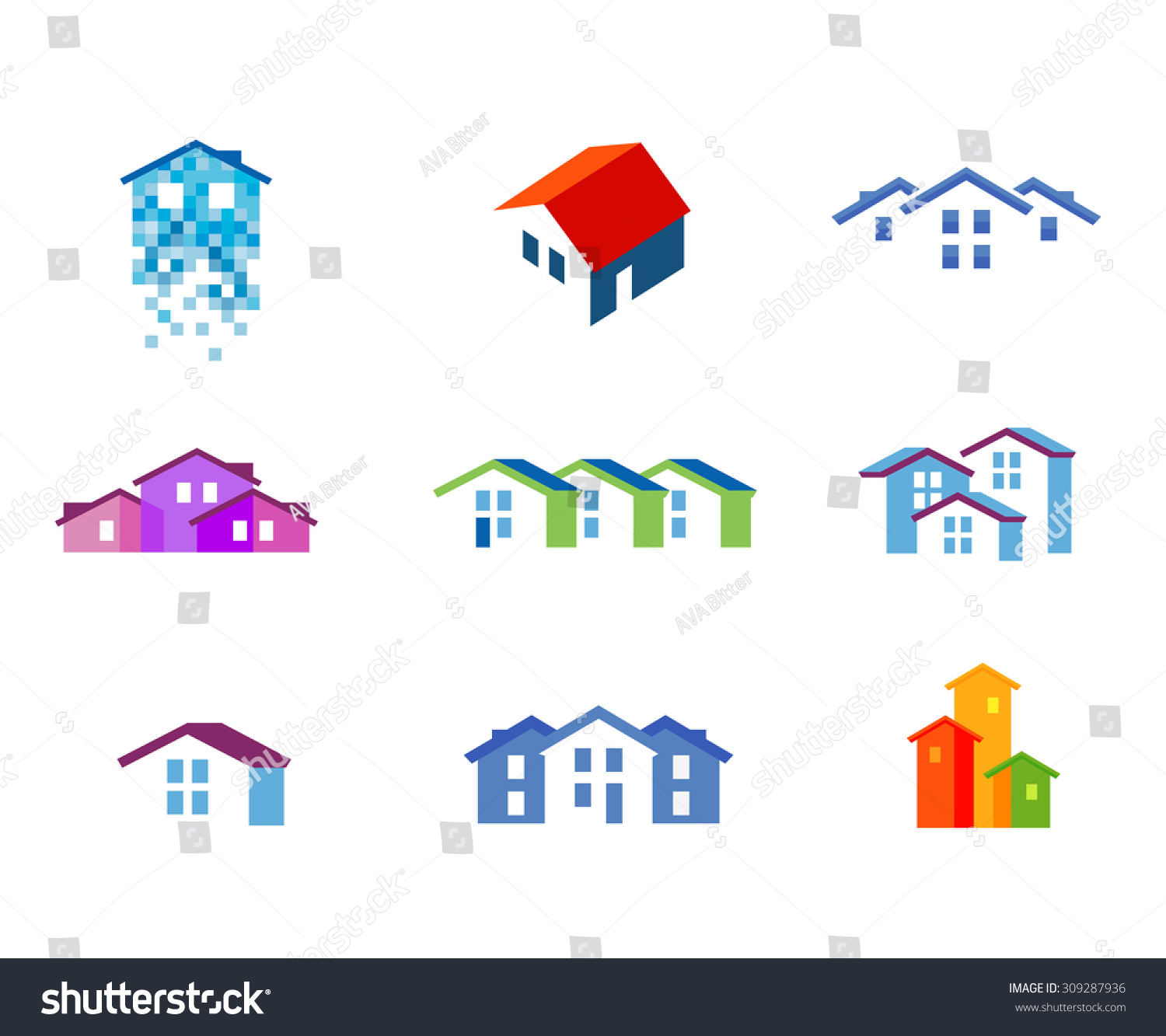 House Vector Logo Design Template Town Stock Vector