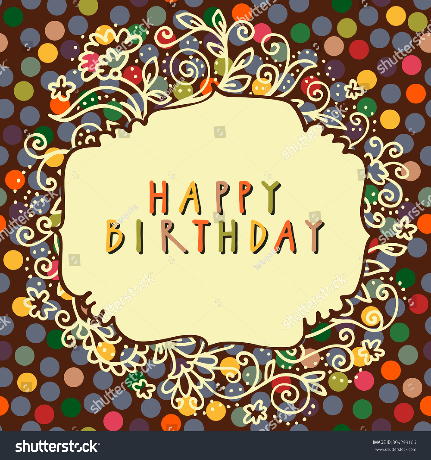 Happy Birthday Vector Doodle Greeting Card In Retro Style