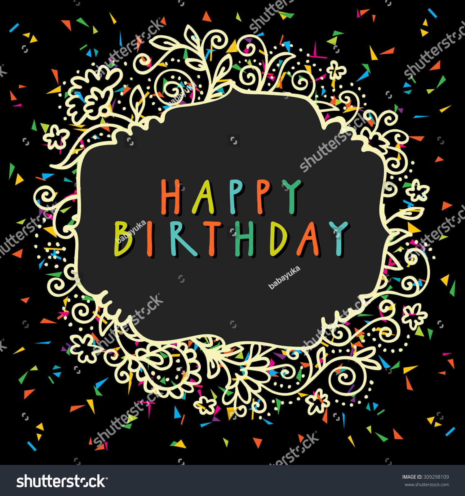 Happy Birthday Vector Doodle Greeting Card Stock Vector Royalty