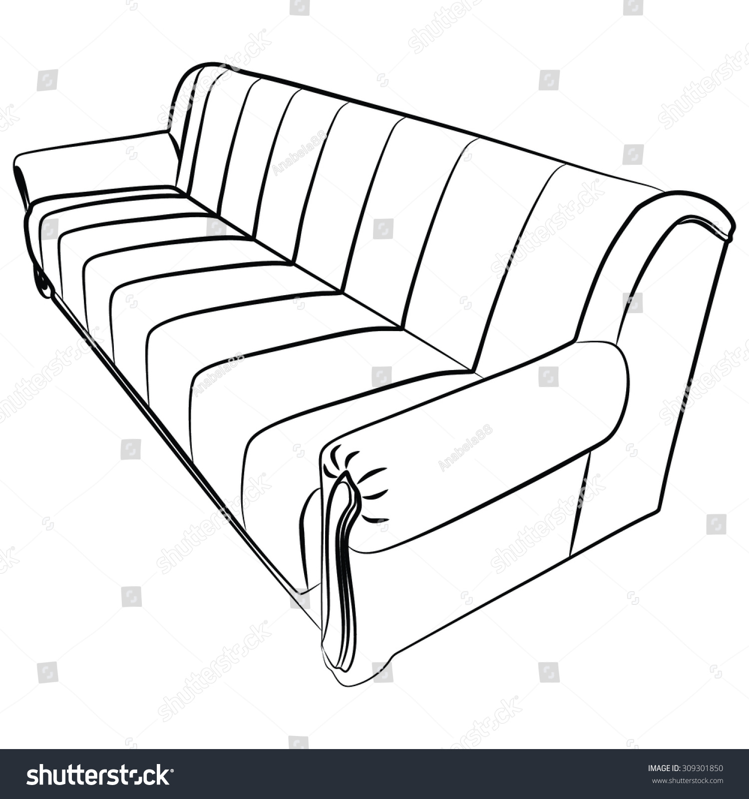 fy Couch Sofa Isolated White Stock Vector