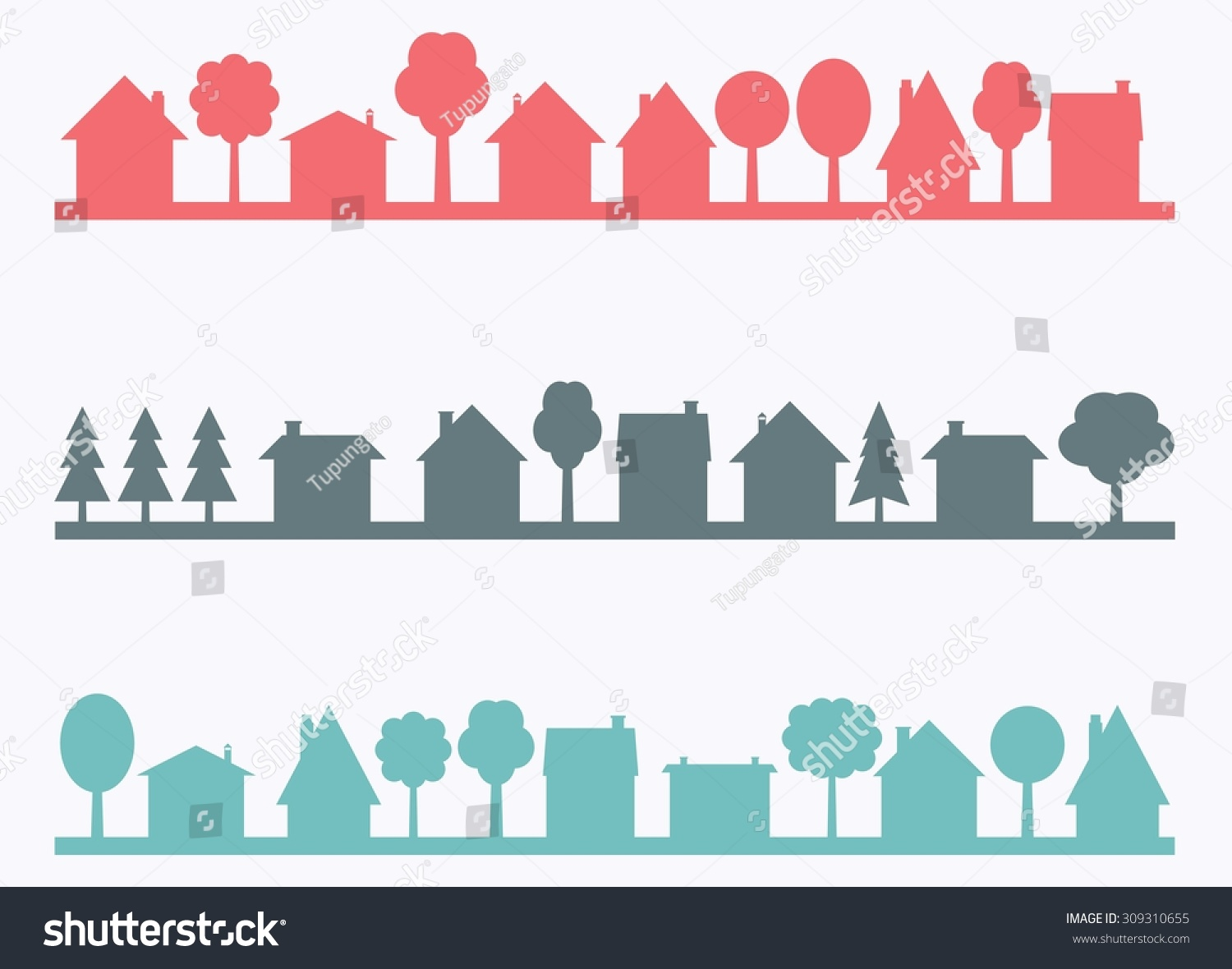 Town Landscape Vector Illustration: Small Town Vector Silhouettes Blank Copy Stock Vector