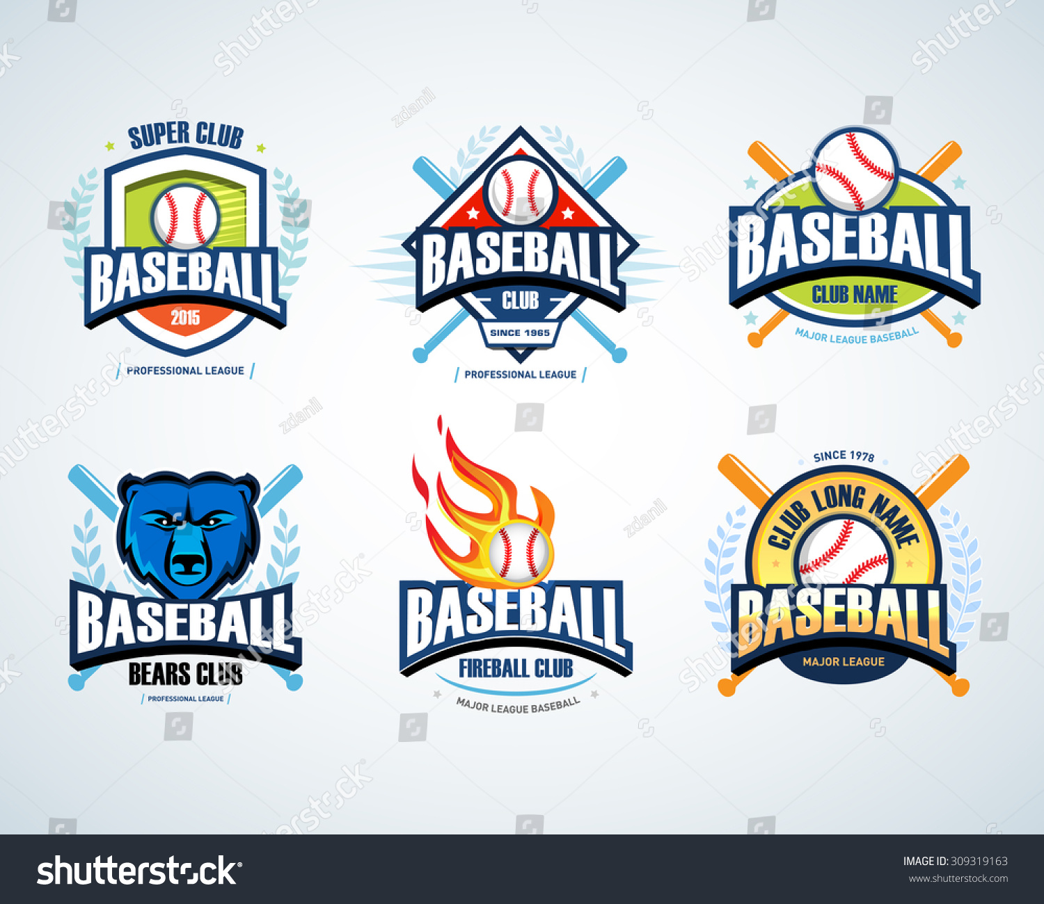 Baseball Sport Badge Logo Set Design Stock Vector 309319163 ...