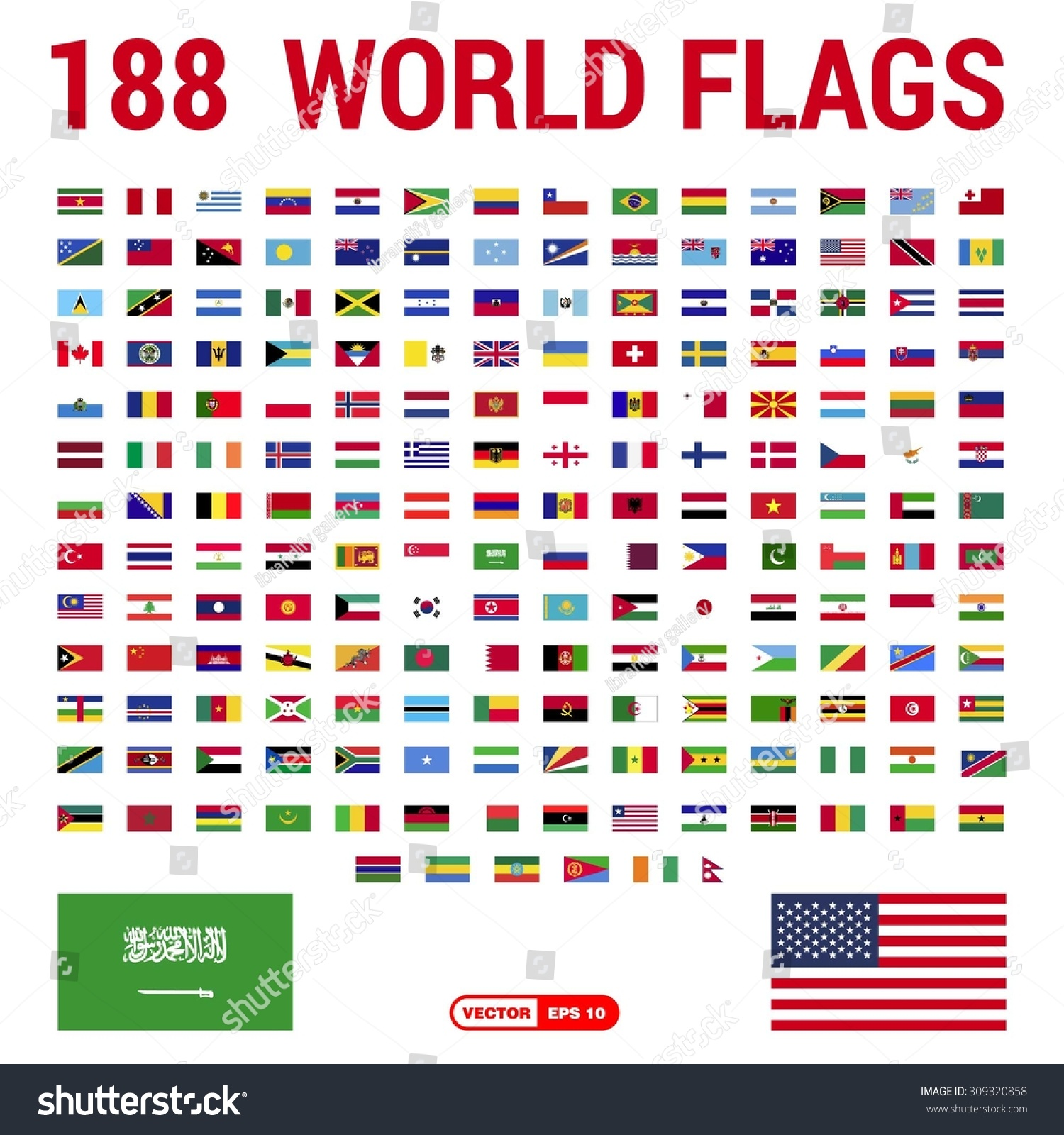 Vector Set 188 World Flags Sovereign Stock Vector 309320858 ...