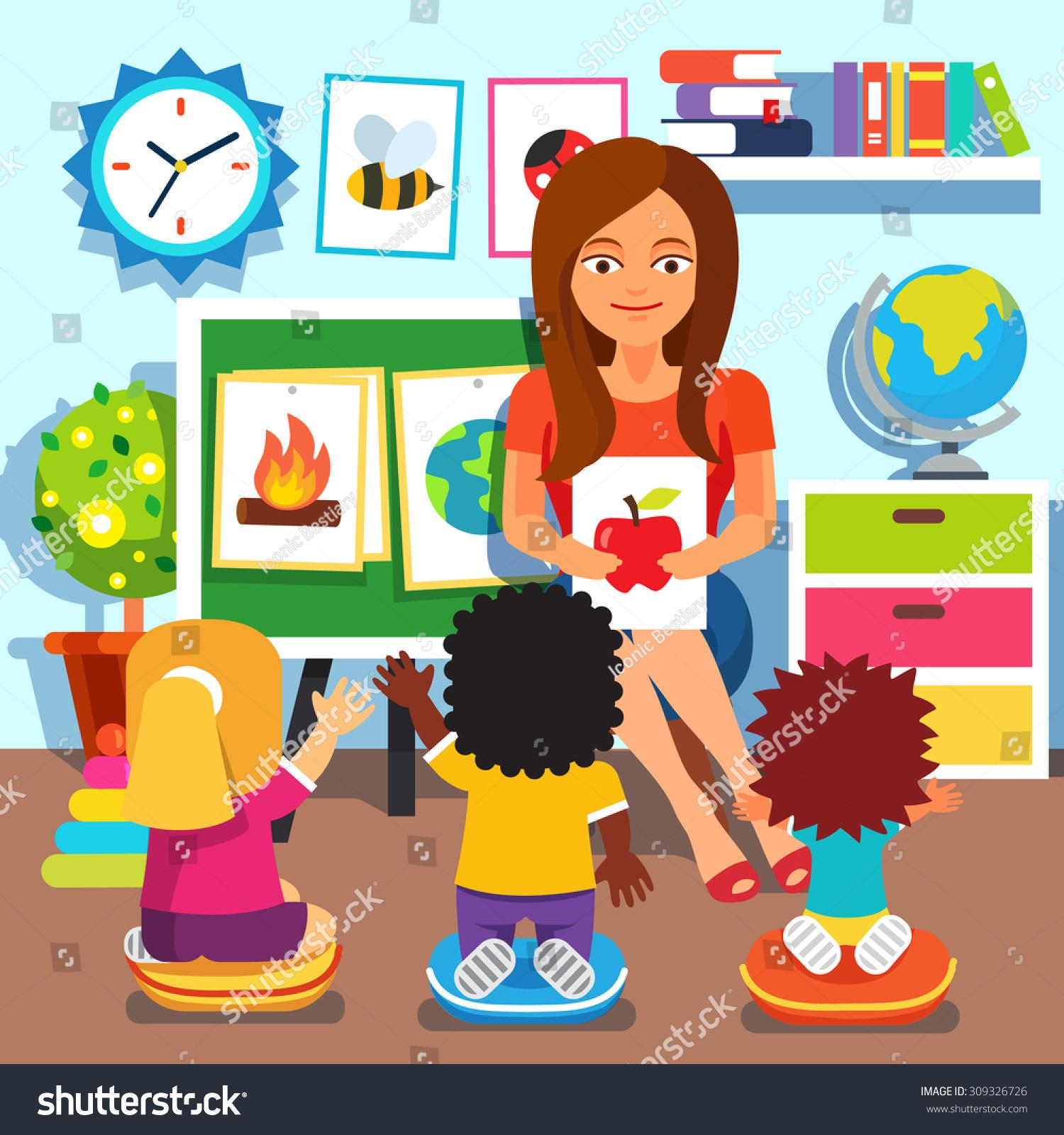Kindergarten Teacher Woman Teaching Kids New Stock Vector ...