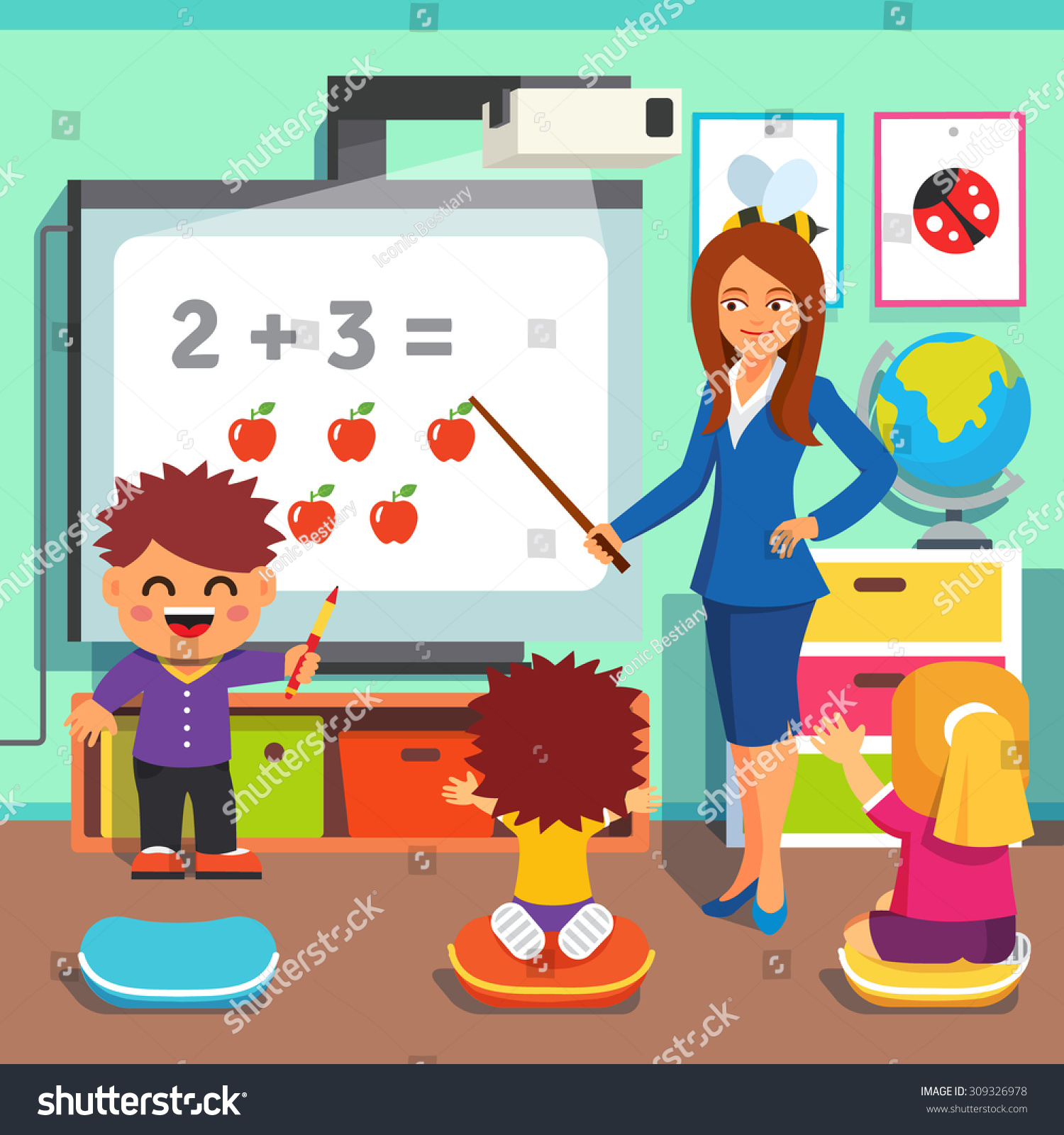 Kindergarten Teacher Woman Teaching Kids Math Stock Vector 309326978 ...