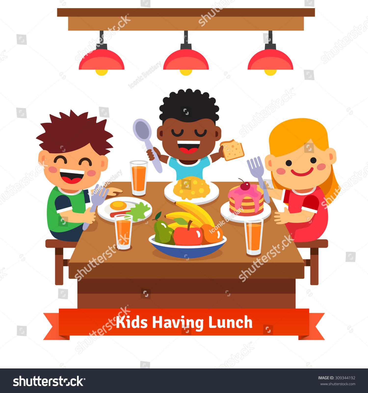 Children Having Dinner At The Kindergarten Of Home Kids Eating And