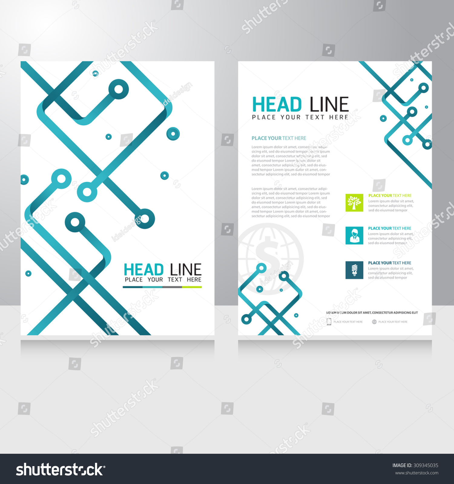 Abstract Technology Brochure Template Modern Digital Stock Vector ...