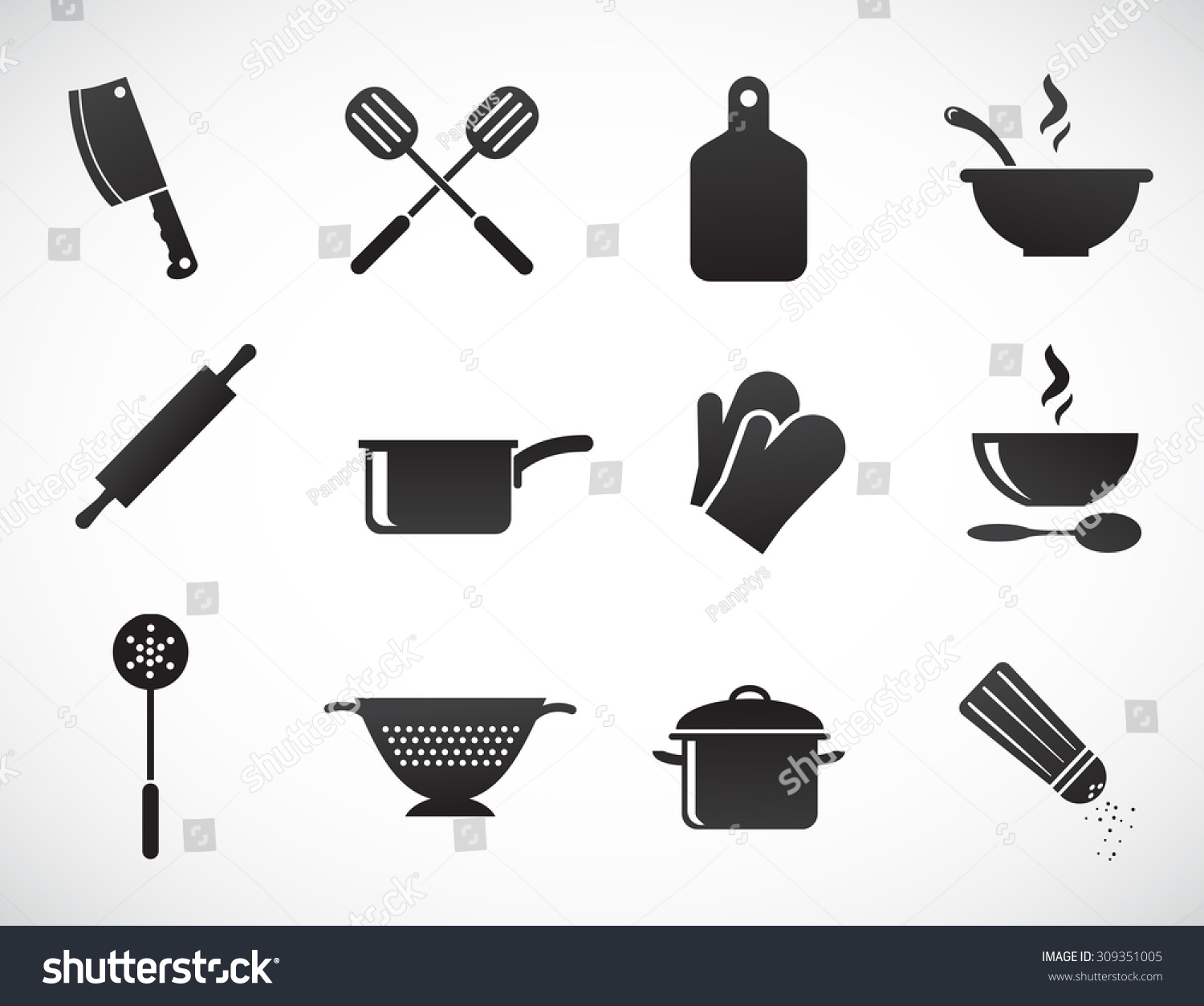 Kitchen tools vector icon set 309351005 shutterstock for Kitchen set vector