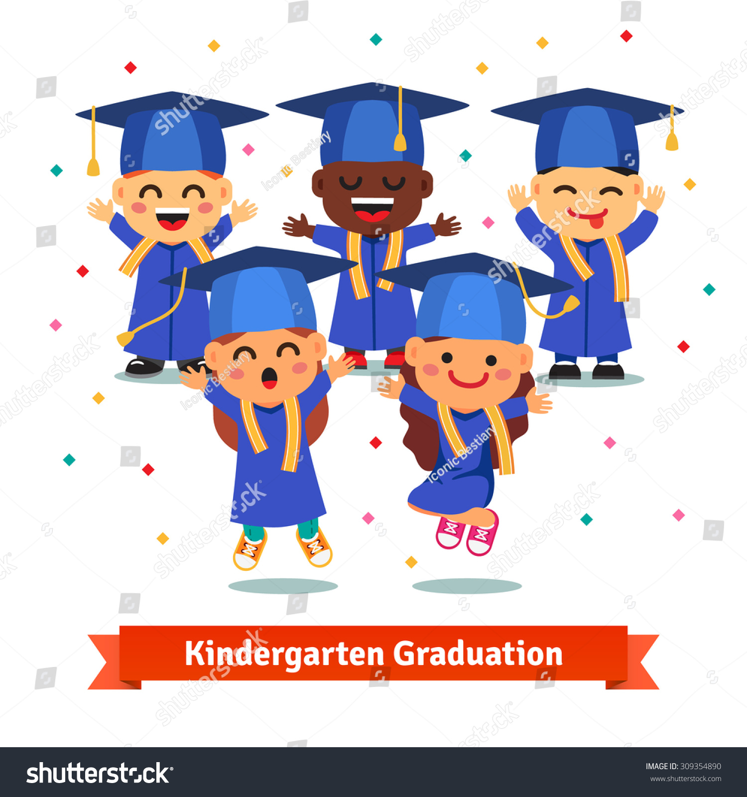 Kindergarten Graduation Party Kids Mortar Boards Stock Vector ...