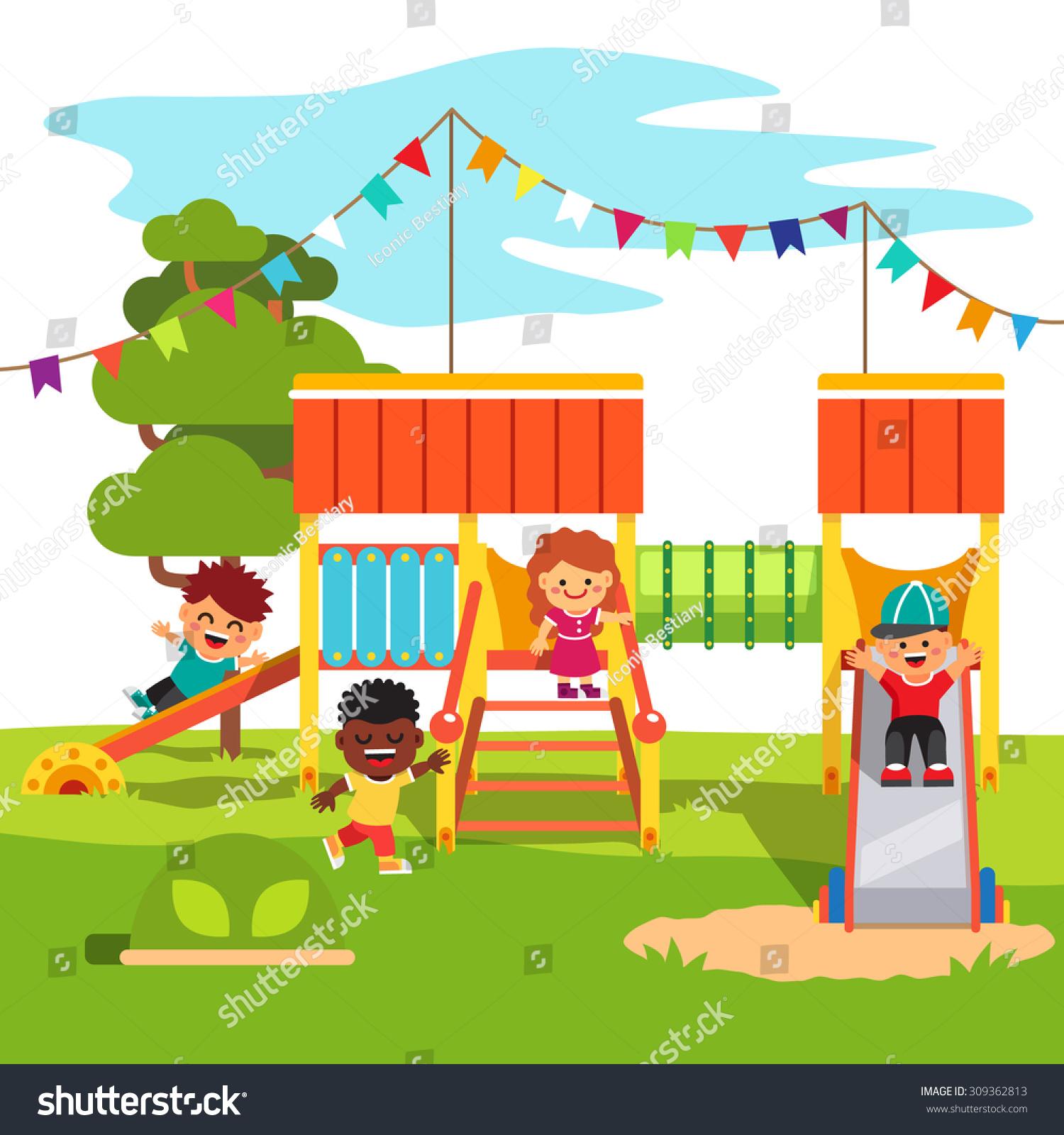 Kindergarten Outdoor Park Playground Slide Playing Stock