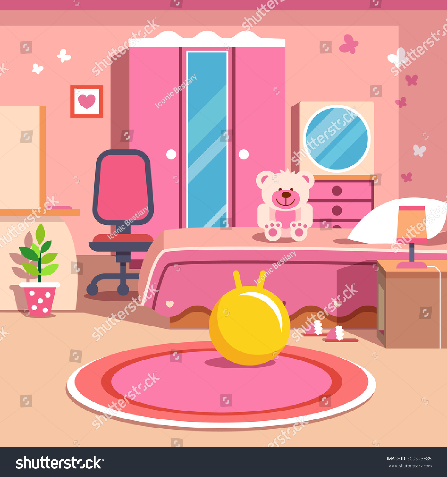 Girls All Pink Bedroom Interior Flat Stock Vector
