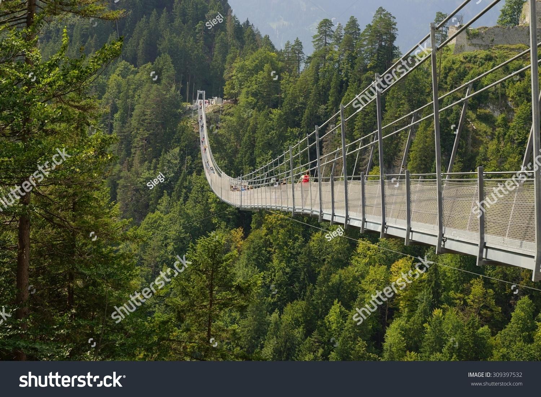 Highline 20 Pedestrian Suspension Bridge Austria Stock Photo ...