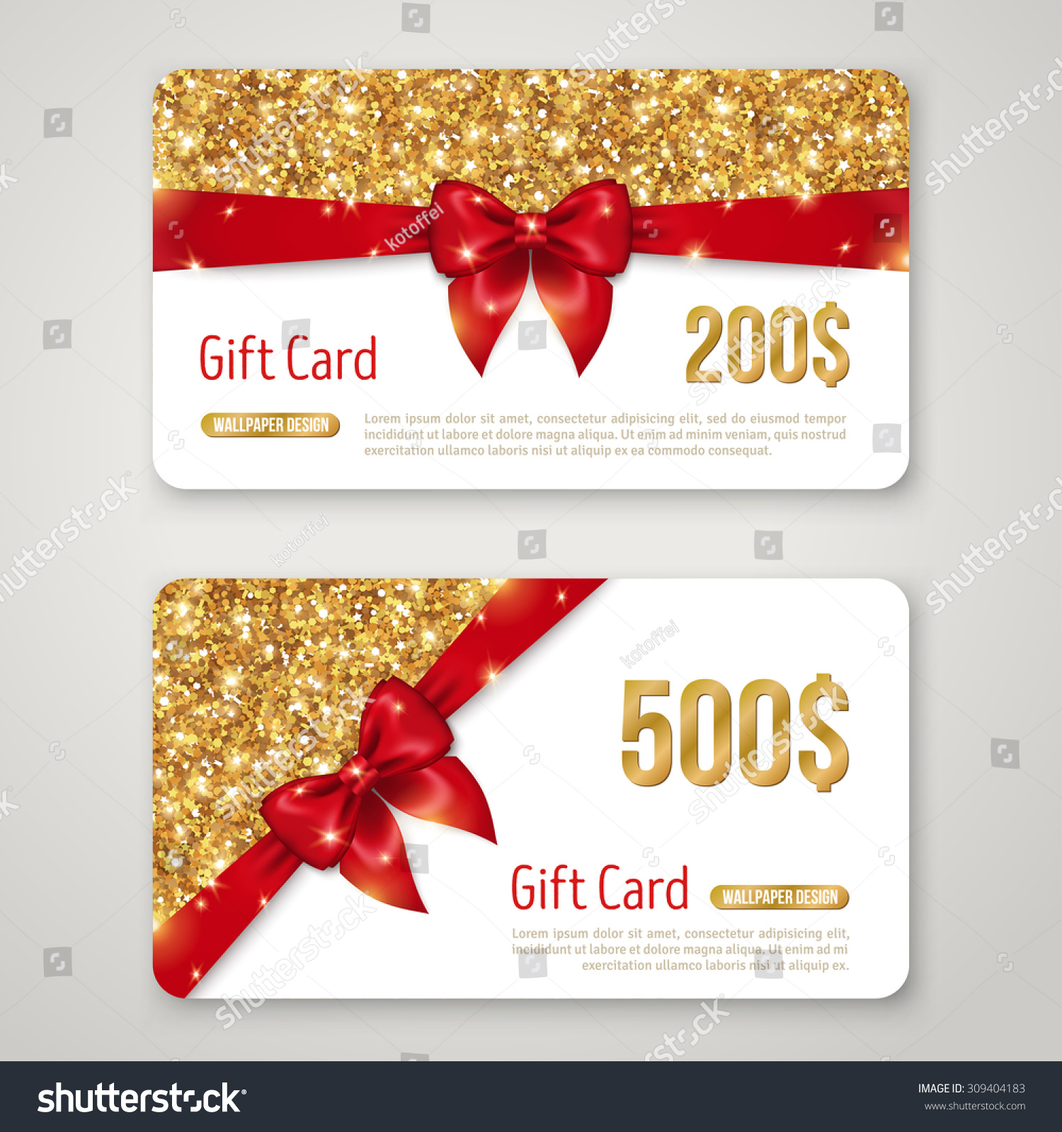gift card design gold glitter texture stock vector 309404183 gift card design gold glitter texture and red bow invitation decorative card template