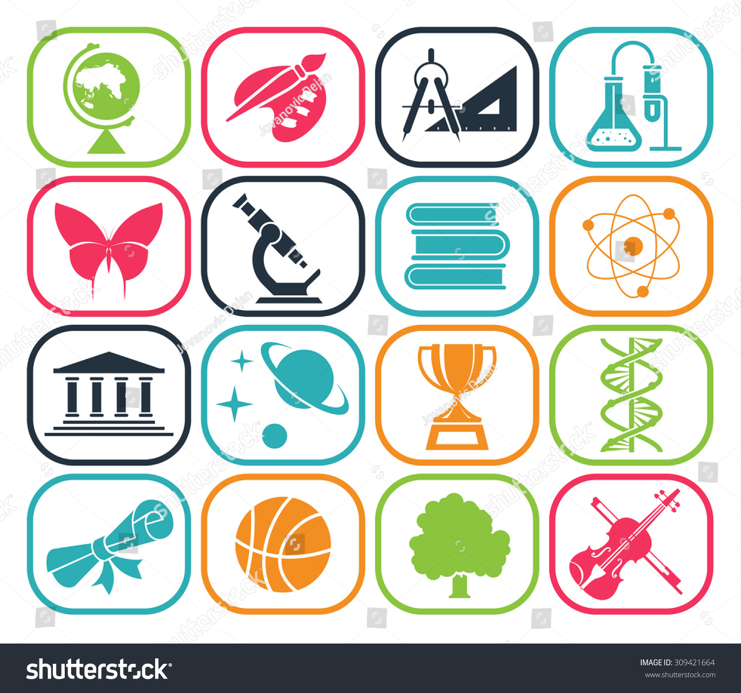 Collection Icons Presenting Different School Subjects Stock Vector ...