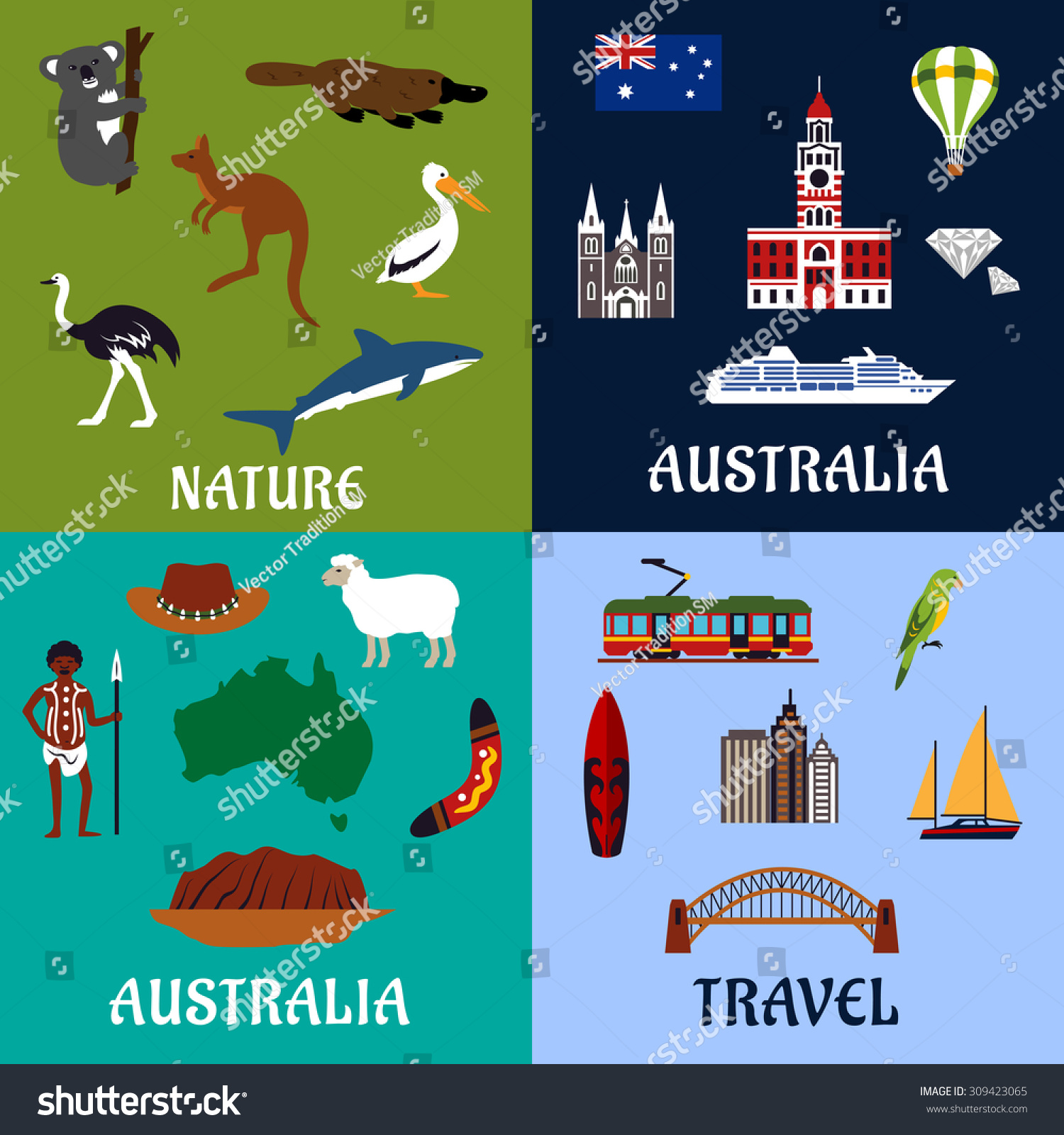 Australia travel symbols icons flat style stock vector 309423065 australia travel symbols and icons in flat style with national flag map landmarks gumiabroncs Image collections