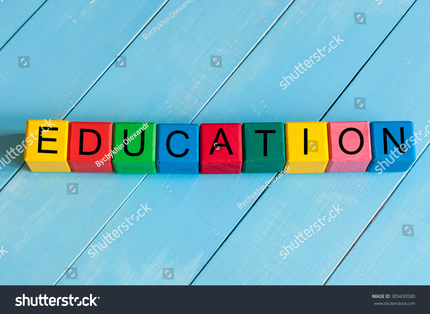 Word Education On Childrens Colourful Cubes Stock Photo 309430580 ...