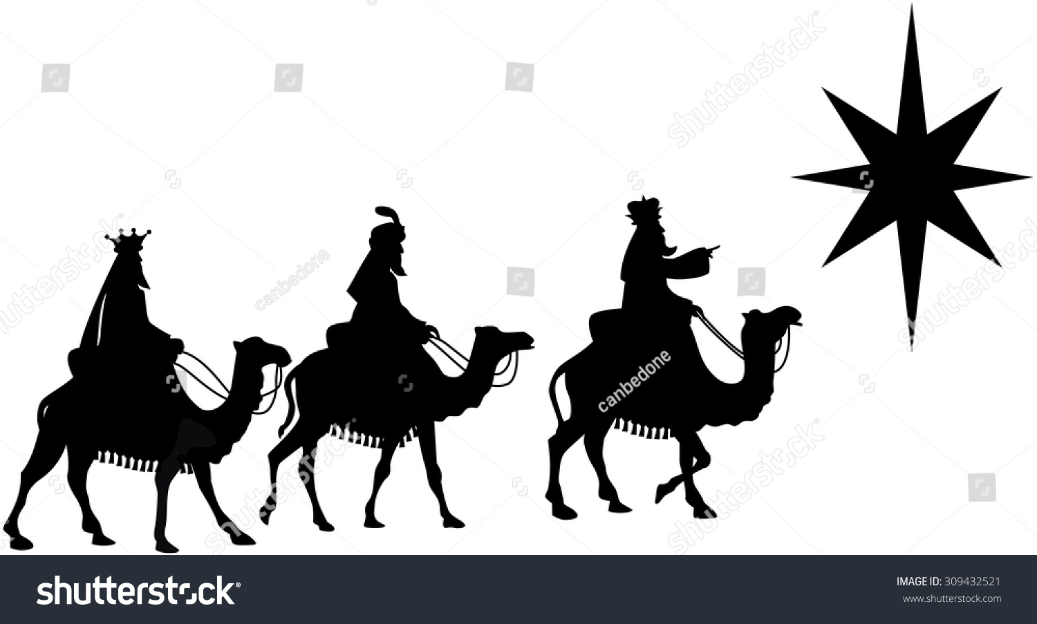 Silhouette of three Kings traveling on camel back from the East following the Star of Bethlehem isolated