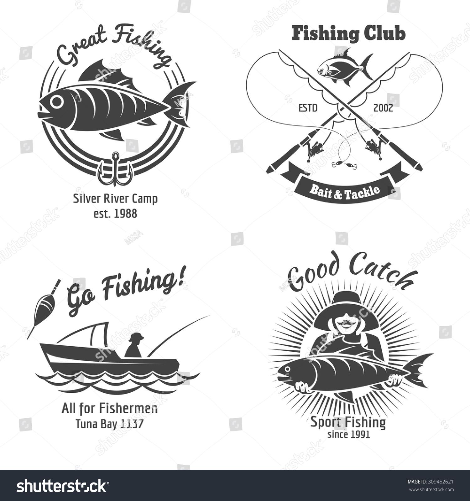 Fishing logo emblems vintage vector set stock vector for Fish symboled stamp