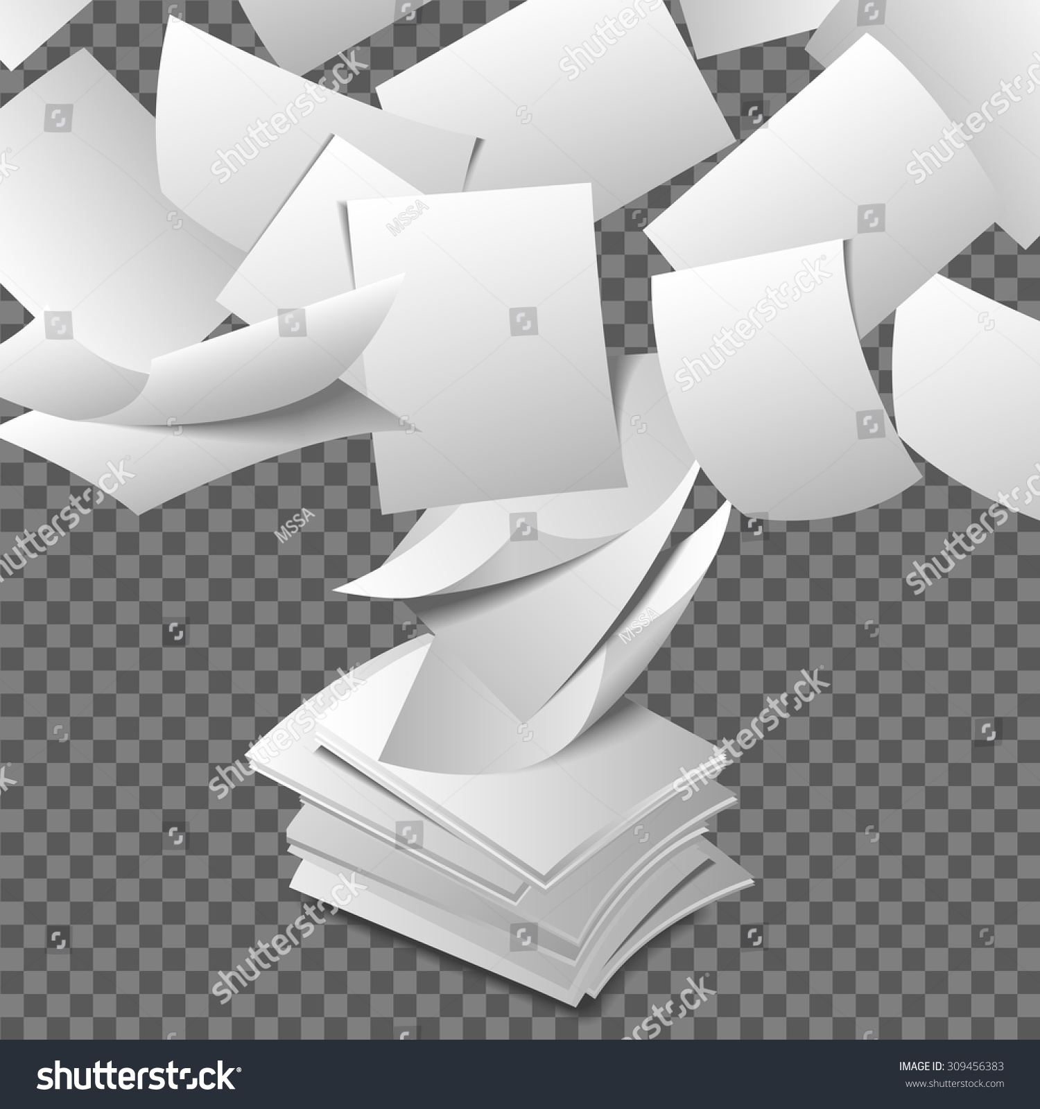 Flying Paper Sheets. Document Blank Business, White Page ...