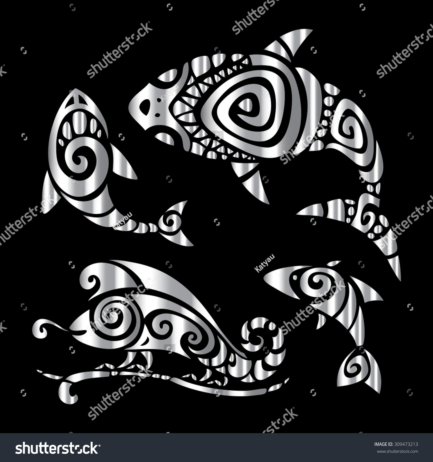 Aztec Chameleon Tattoo: Shark Fish Chameleon Tribal Pattern Set Stock Vector