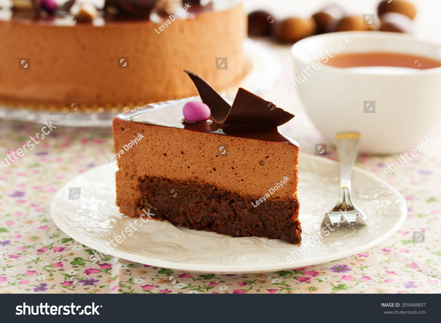 Chocolate Cake With Chestnut Mousse Brownie. Stock Photo ...