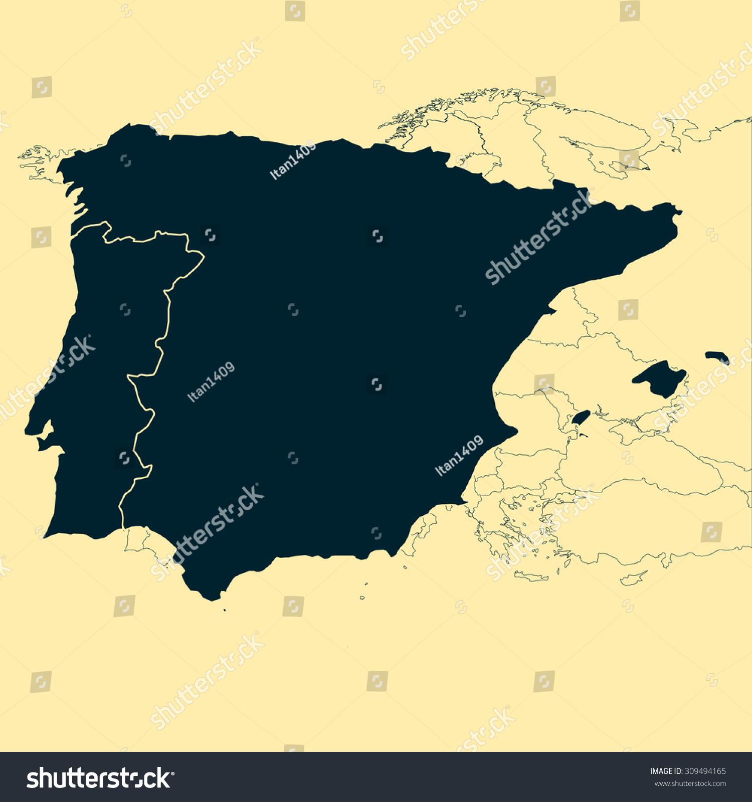 Iberian Peninsula Spain Portugal Map Stock Vector - Portugal map iberian peninsula