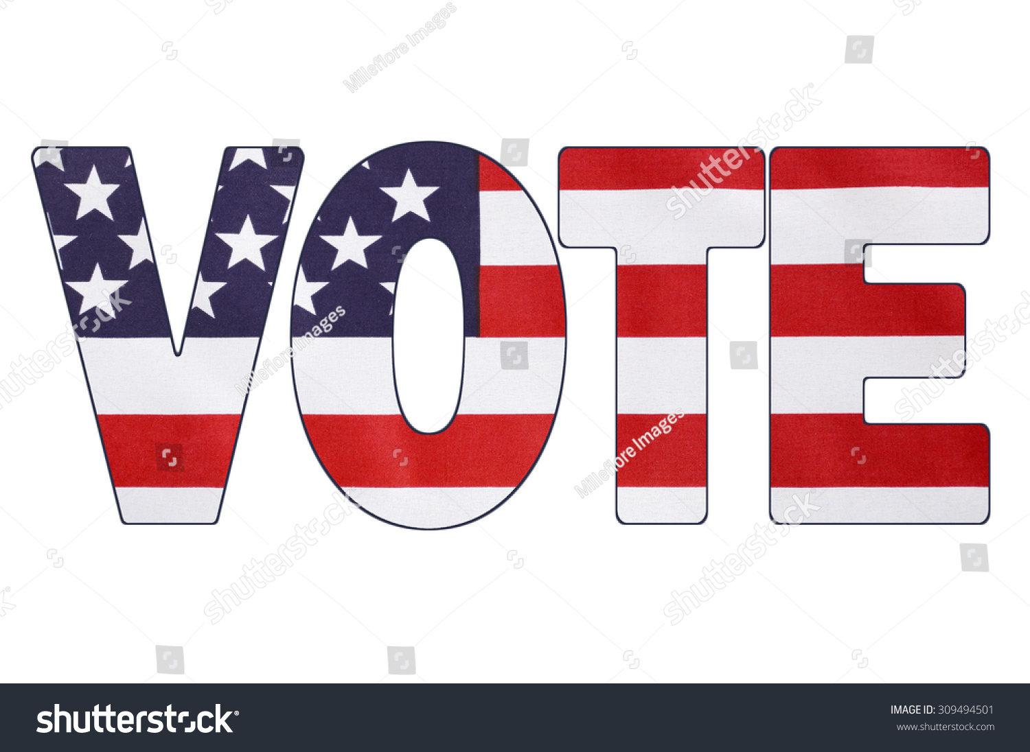 USA 2016 Presidential Election with image of Stars and Stripes in outline of the word, VOTE.