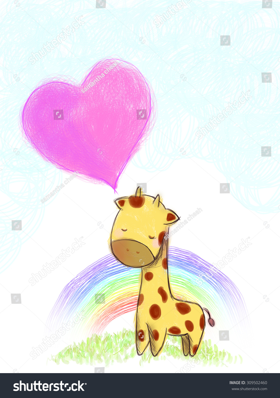 Download Wallpaper Colorful Giraffe - stock-photo-hand-drawn-cartoon-giraffe-with-pink-heart-shape-talking-balloon-on-grass-lawn-hilltop-over-blue-309502460  Picture_771192 .jpg