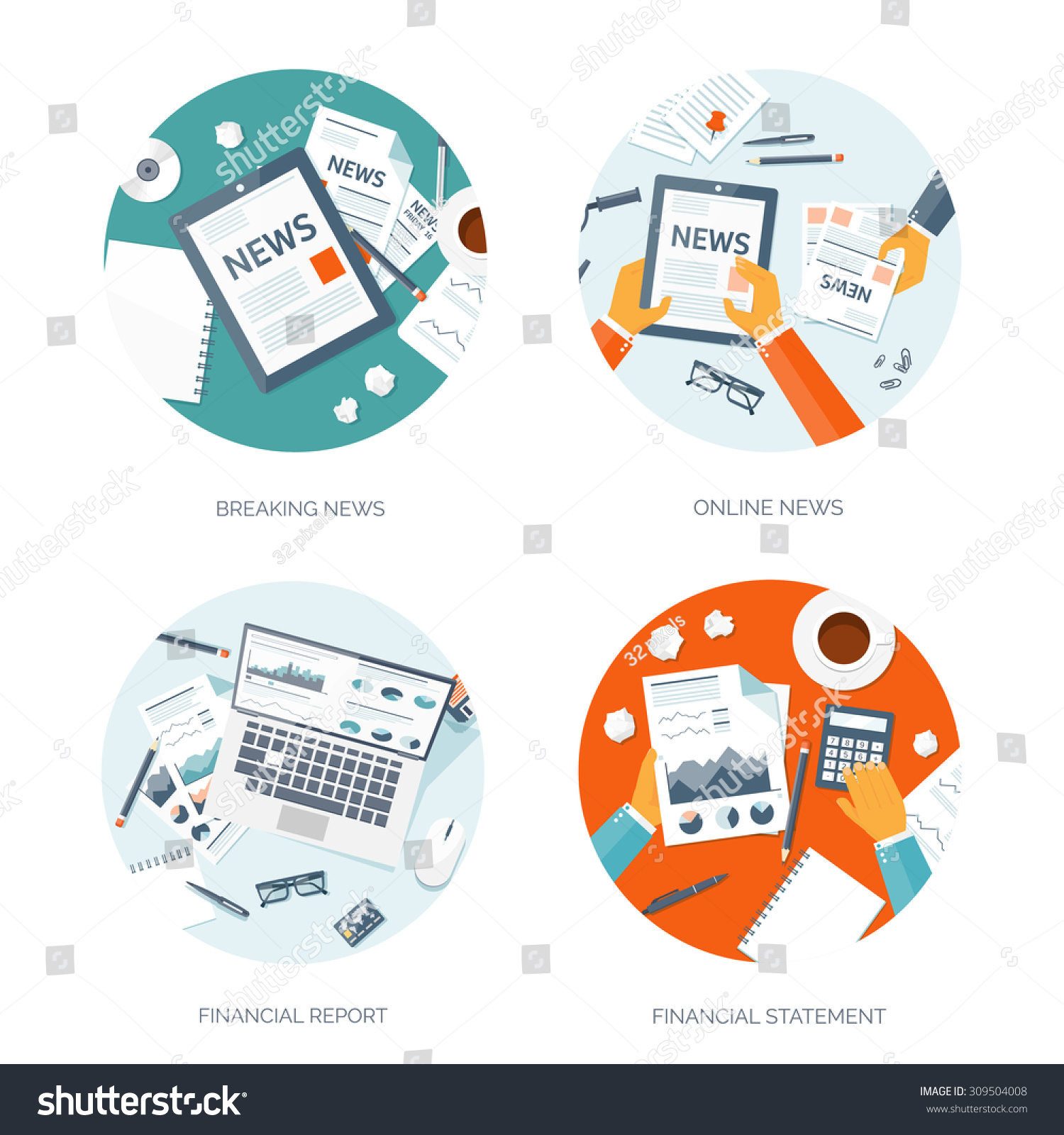 Flat Background Vector Illustration Financial Statement – Daily Financial Report